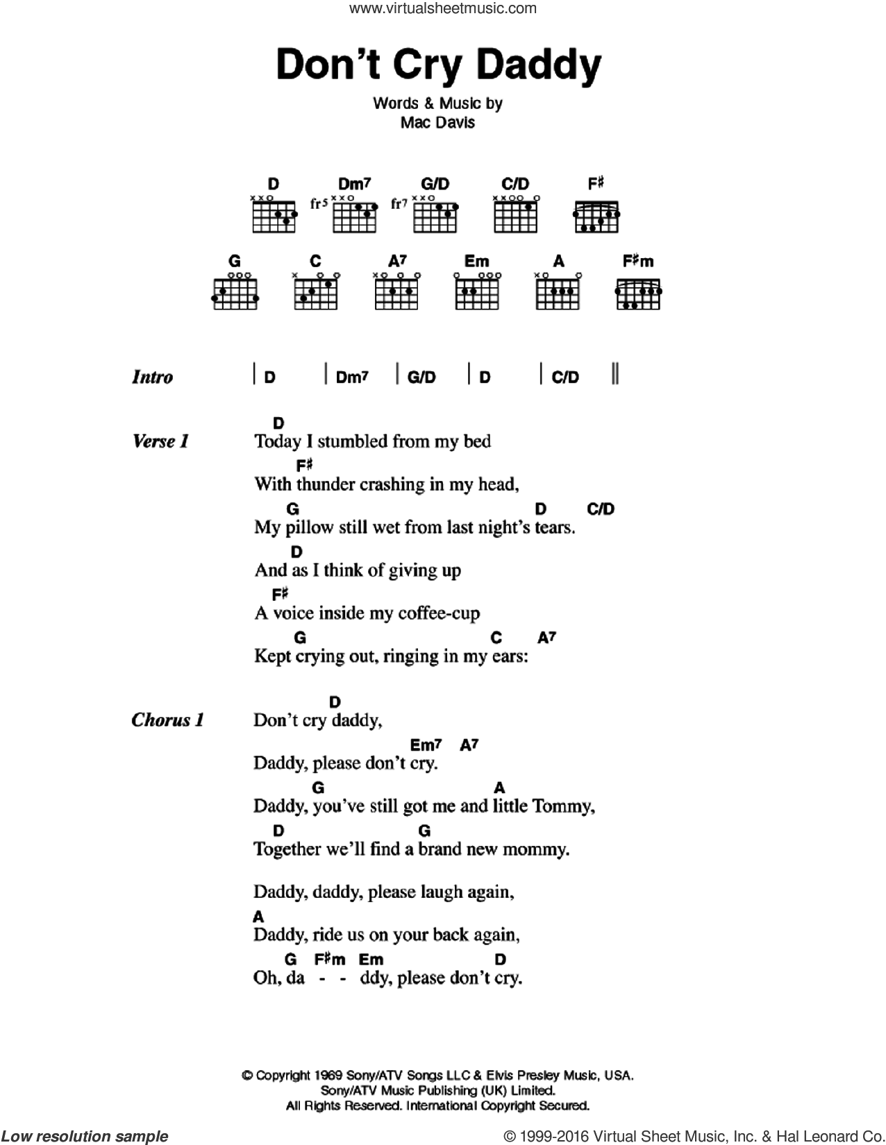 Presley Dont Cry Daddy Sheet Music For Guitar Chords Pdf