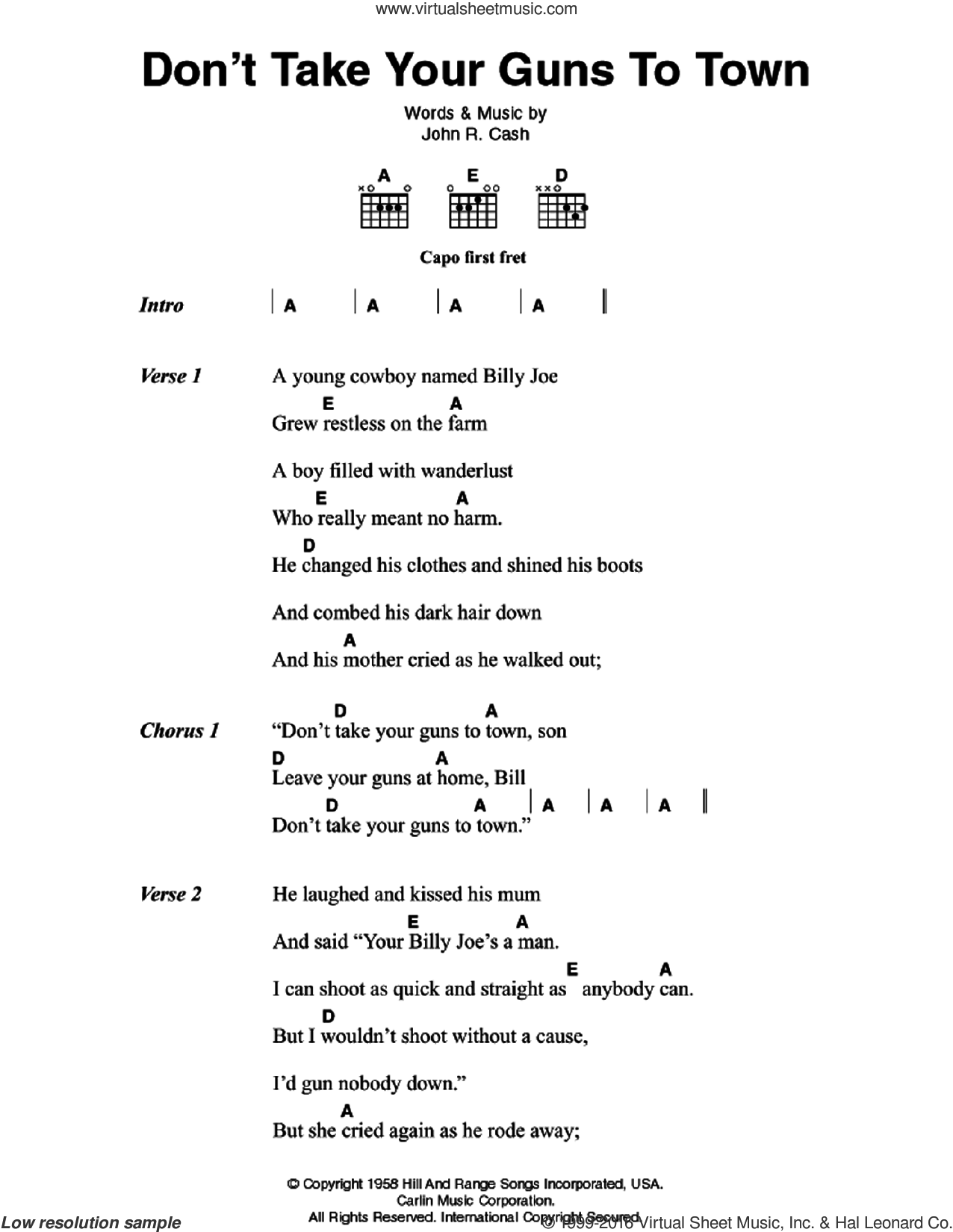 Don't Take Your Guns To Town sheet music for guitar (chords) by Johnny Cash, intermediate skill level