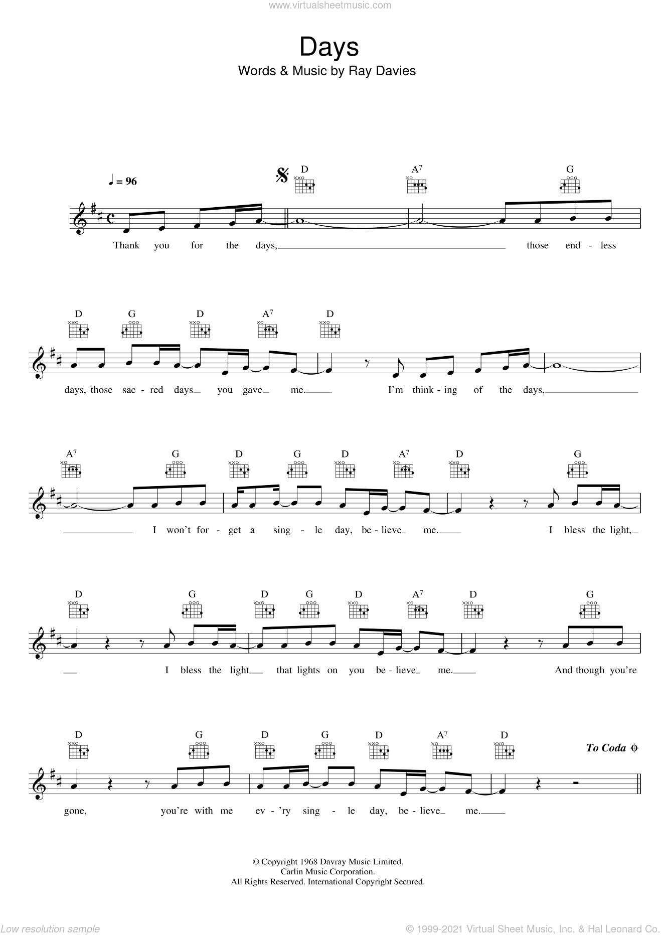 Days sheet music for voice and other instruments (fake book) by Ray Davies and The Kinks. Score Image Preview.