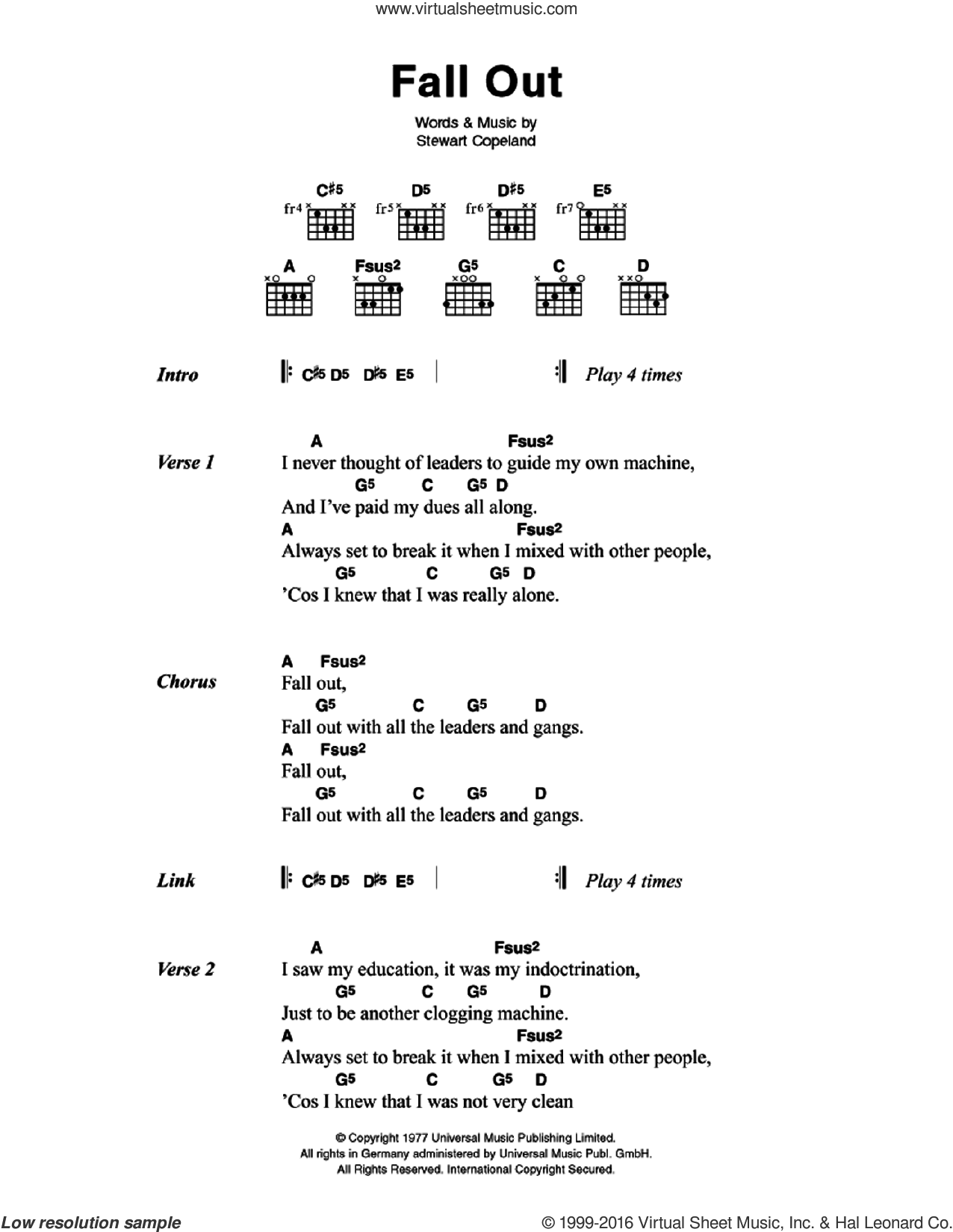 Police Fall Out Sheet Music For Guitar Chords Pdf