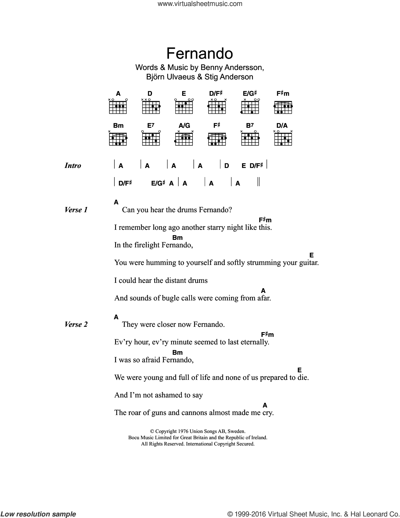 Abba Fernando Sheet Music For Guitar Chords Pdf