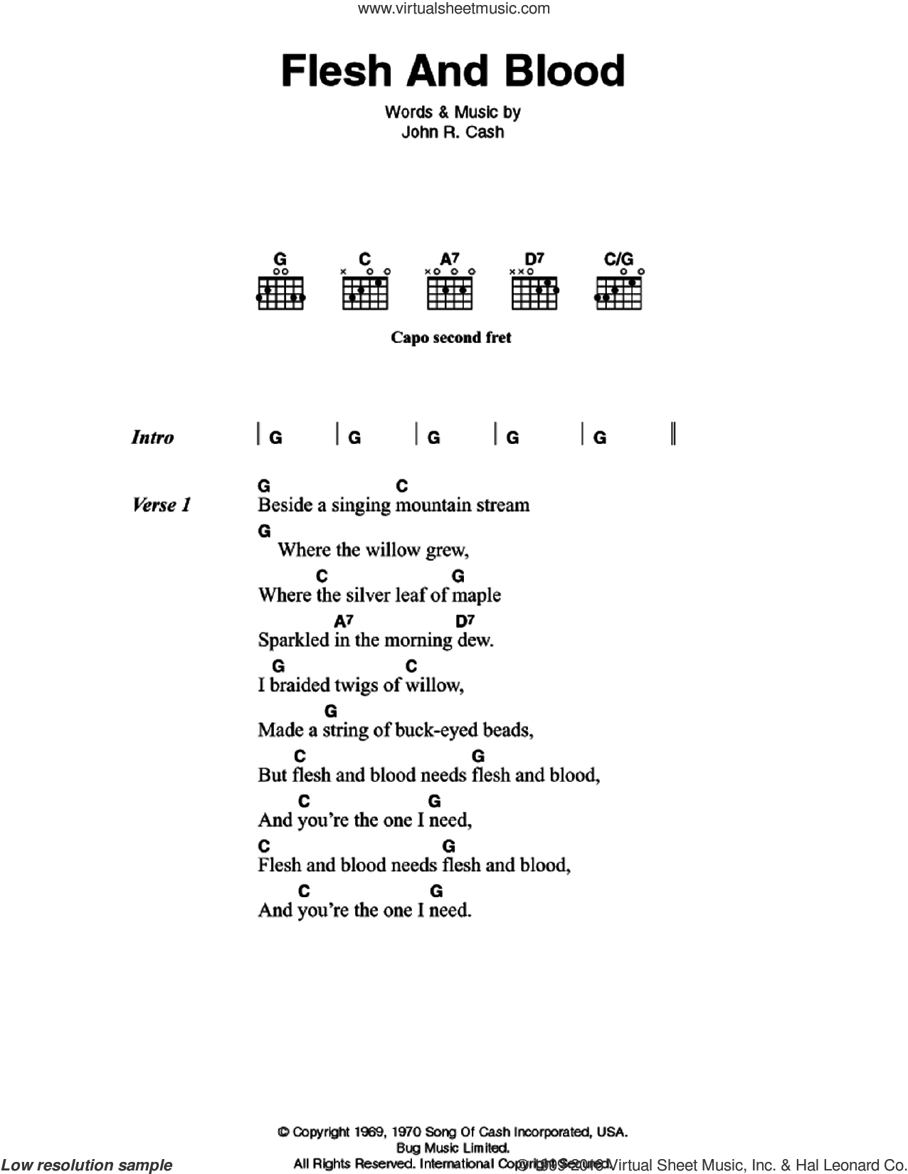 Flesh And Blood sheet music for guitar (chords) by Johnny Cash, intermediate skill level