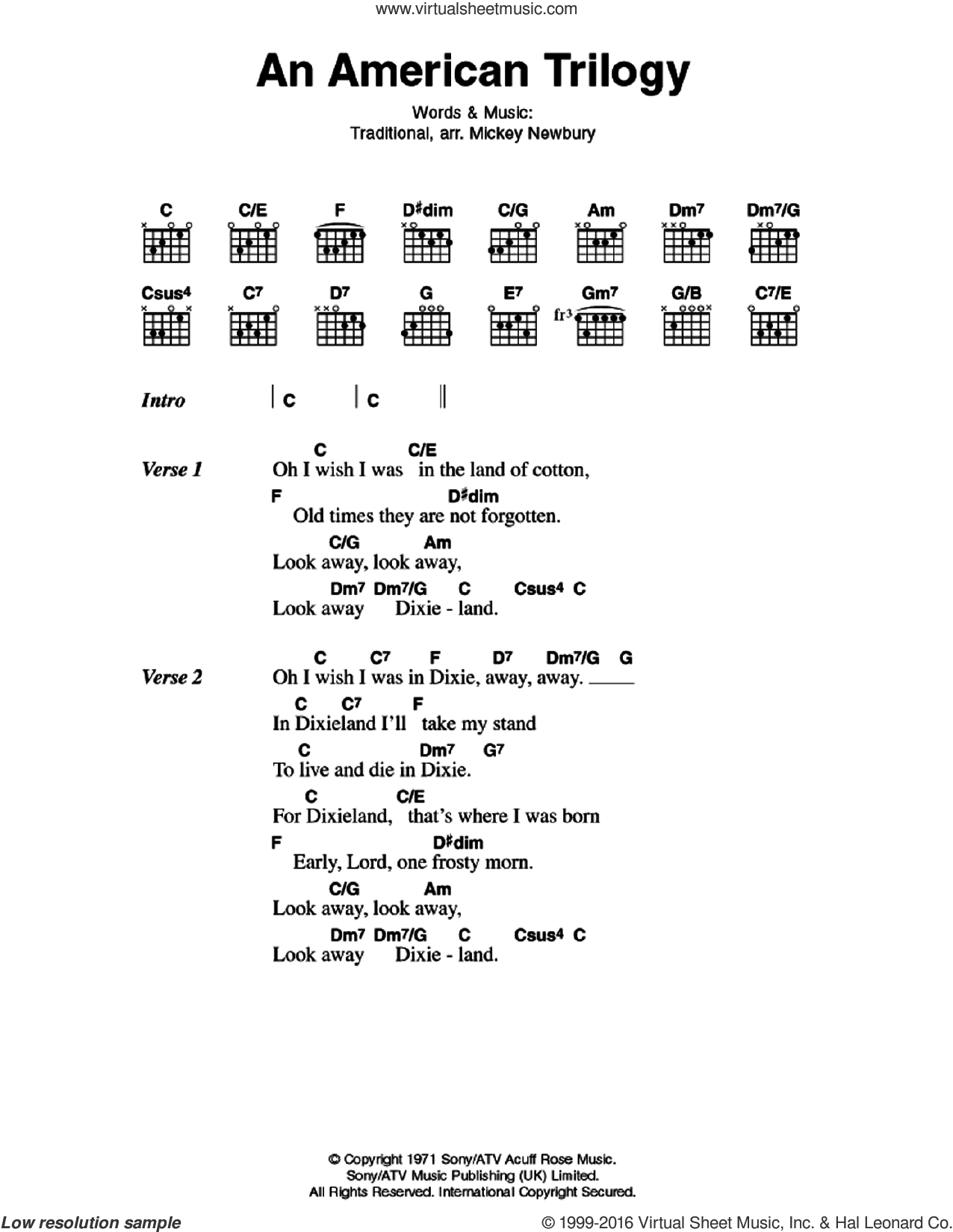 An American Trilogy sheet music for guitar (chords) by Elvis Presley and Miscellaneous, intermediate guitar (chords). Score Image Preview.