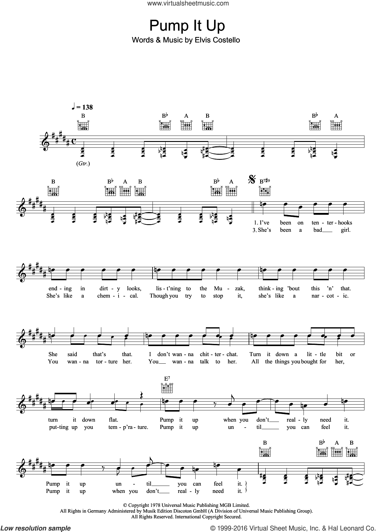 Pump It Up sheet music for voice and other instruments (fake book) by Elvis Costello. Score Image Preview.
