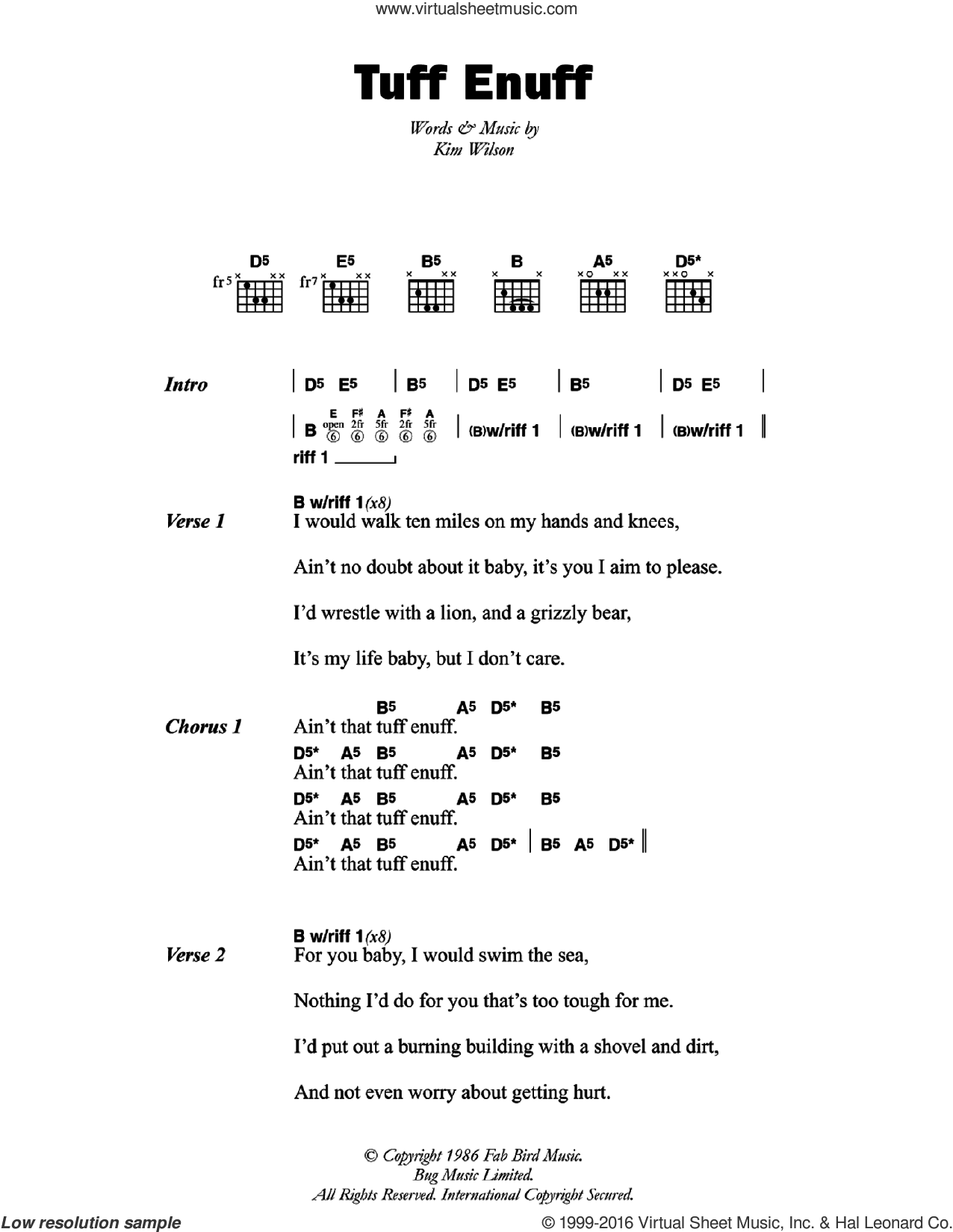 Tuff Enuff sheet music for guitar (chords) by The Fabulous Thunderbirds and Kim Wilson, intermediate skill level
