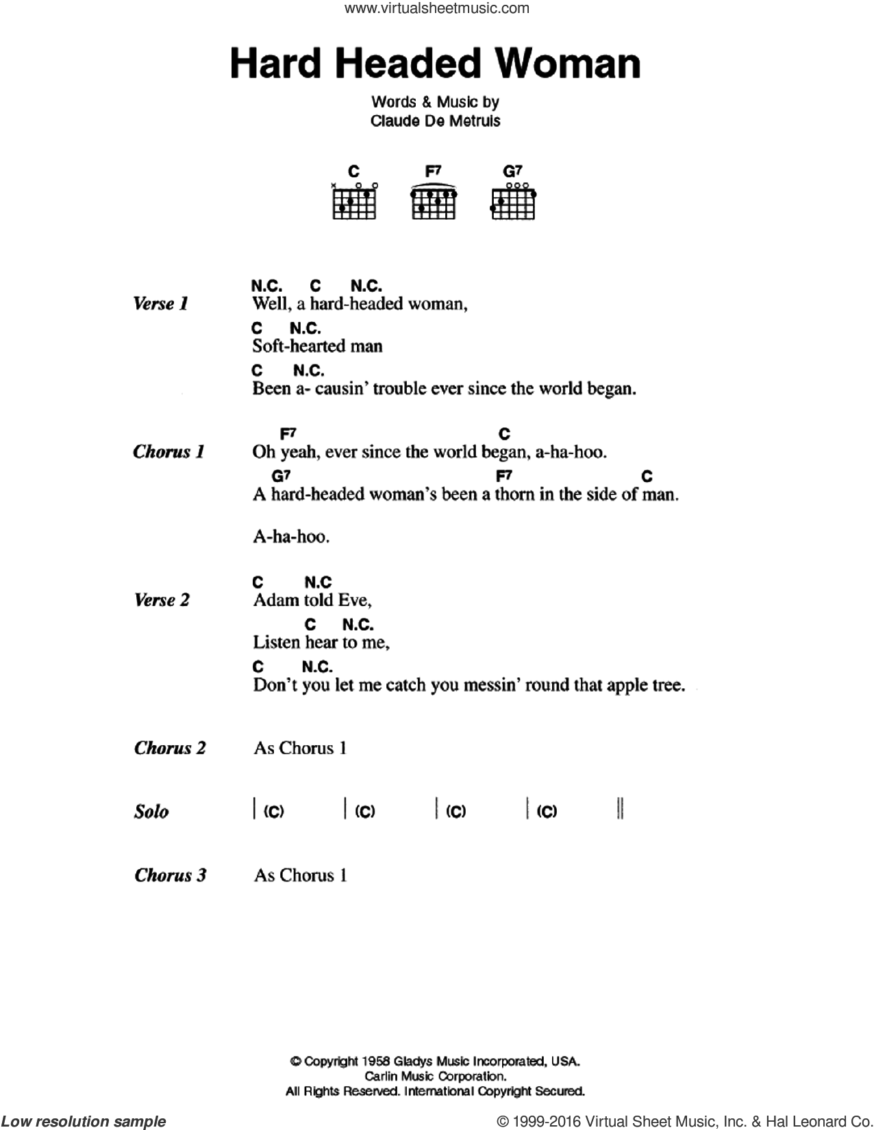 Hard Headed Woman sheet music for guitar (chords) by Elvis Presley and Claude DeMetruis, intermediate skill level
