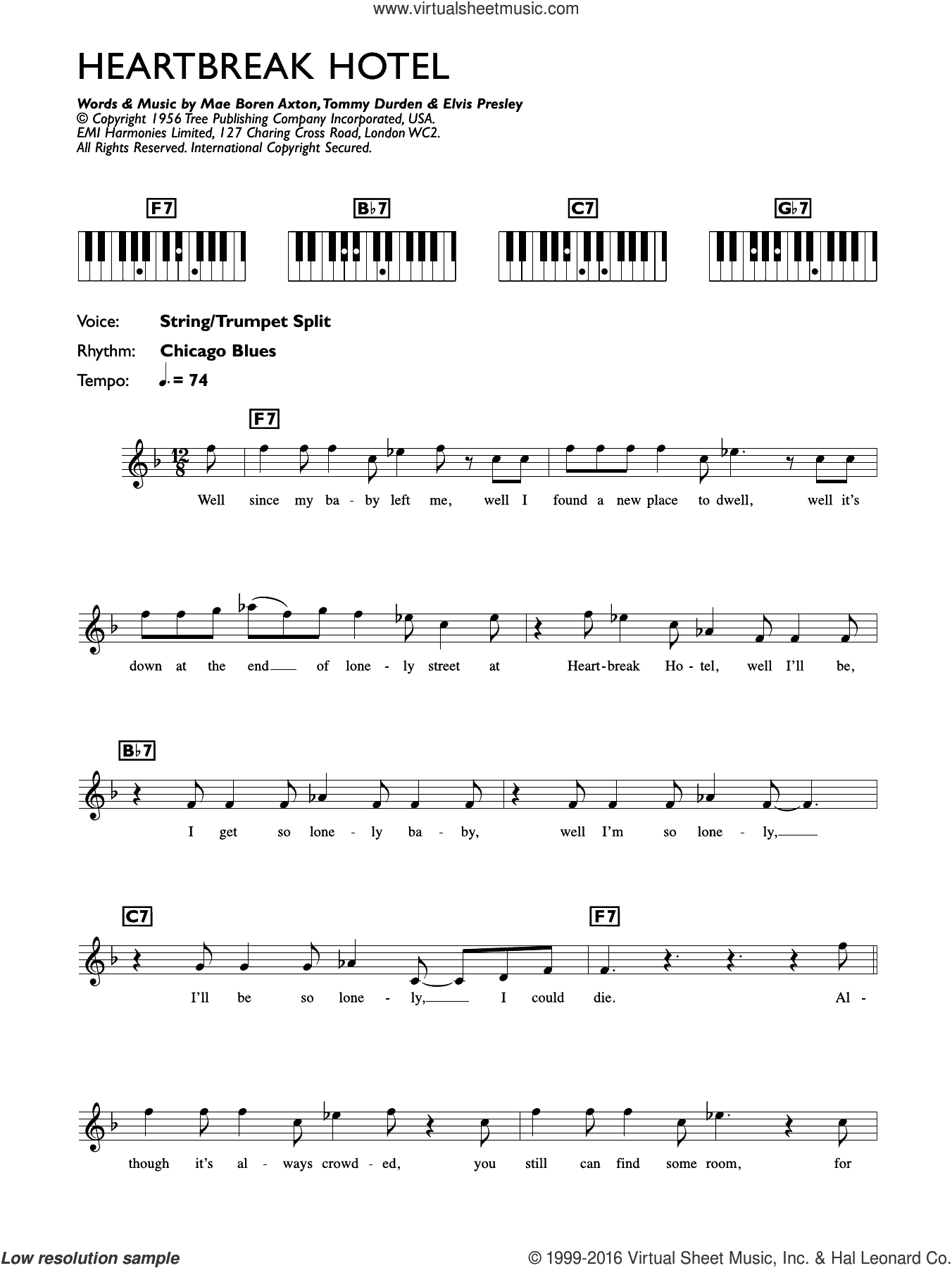 Heartbreak Hotel sheet music for piano solo (chords, lyrics, melody) by Tommy Durden and Elvis Presley. Score Image Preview.