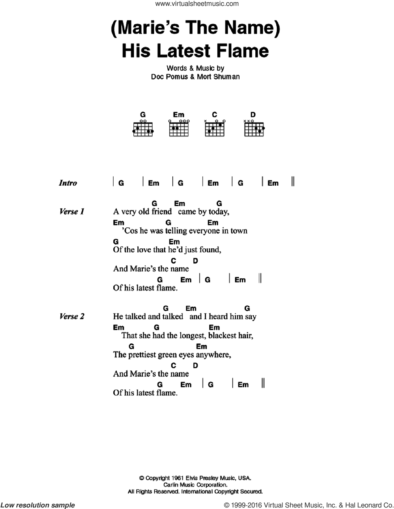 (Marie's The Name) His Latest Flame sheet music for guitar (chords) by Elvis Presley, Doc Pomus and Mort Shuman, intermediate skill level