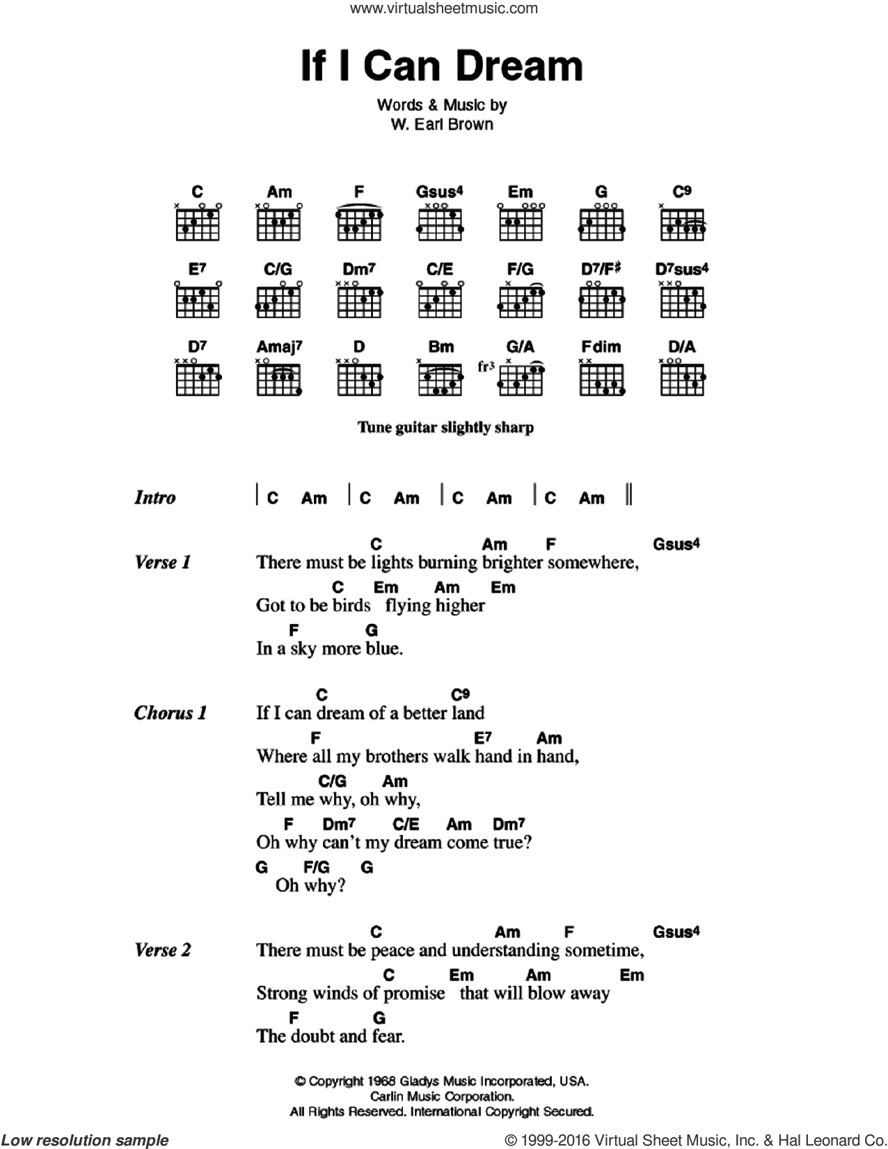 If I Can Dream sheet music for guitar (chords) by W. Earl Brown
