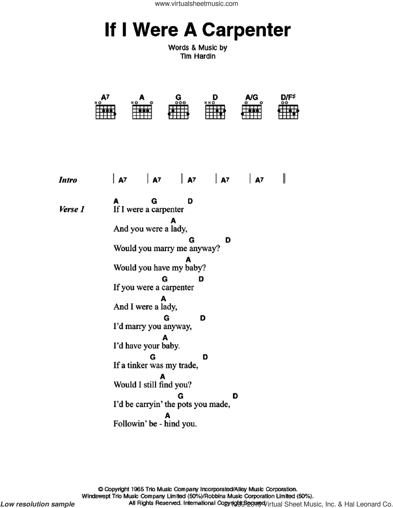 If I Were A Carpenter sheet music for guitar (chords) by Tim Hardin and Johnny Cash. Score Image Preview.