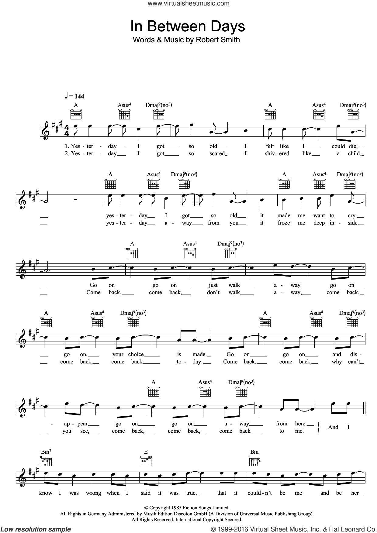 In Between Days sheet music for voice and other instruments (fake book) by The Cure and Robert Smith, intermediate skill level