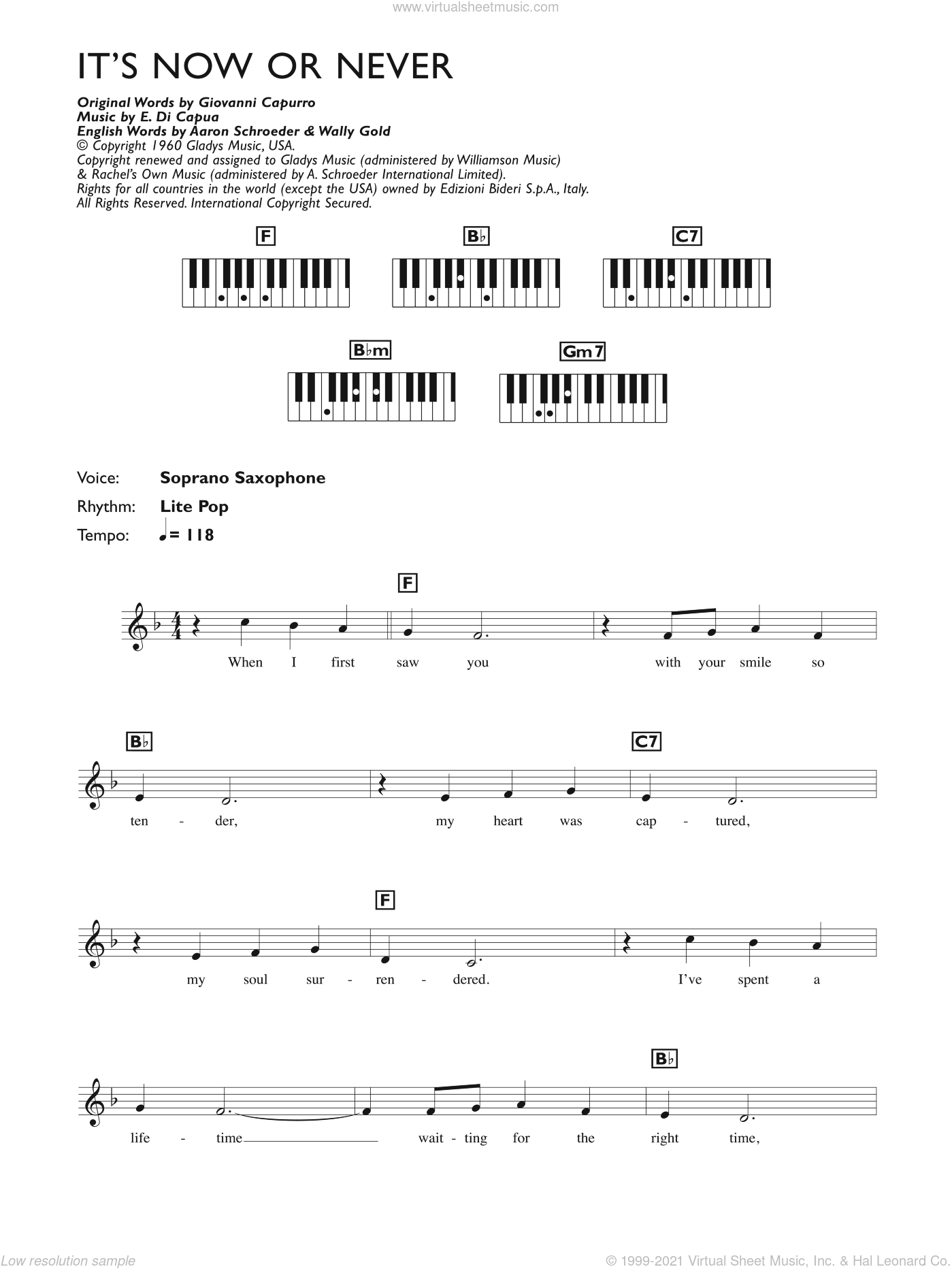 It's Now Or Never sheet music for piano solo (chords, lyrics, melody) by Elvis Presley, Aaron Schroeder, Eduardo Di Capua and Wally Gold, intermediate piano (chords, lyrics, melody)