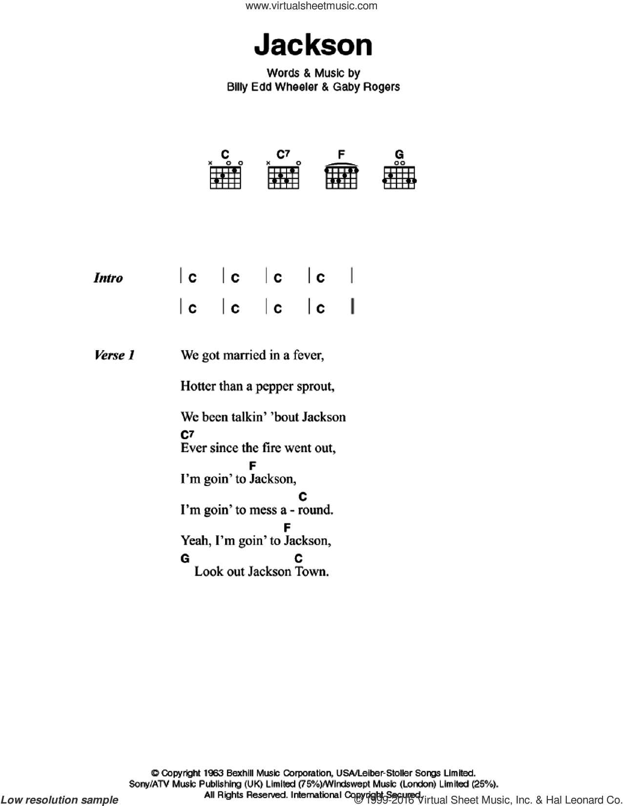 Jackson sheet music for guitar (chords) by Johnny Cash, June Carter, Billy Edd Wheeler and Jerry Leiber, intermediate skill level