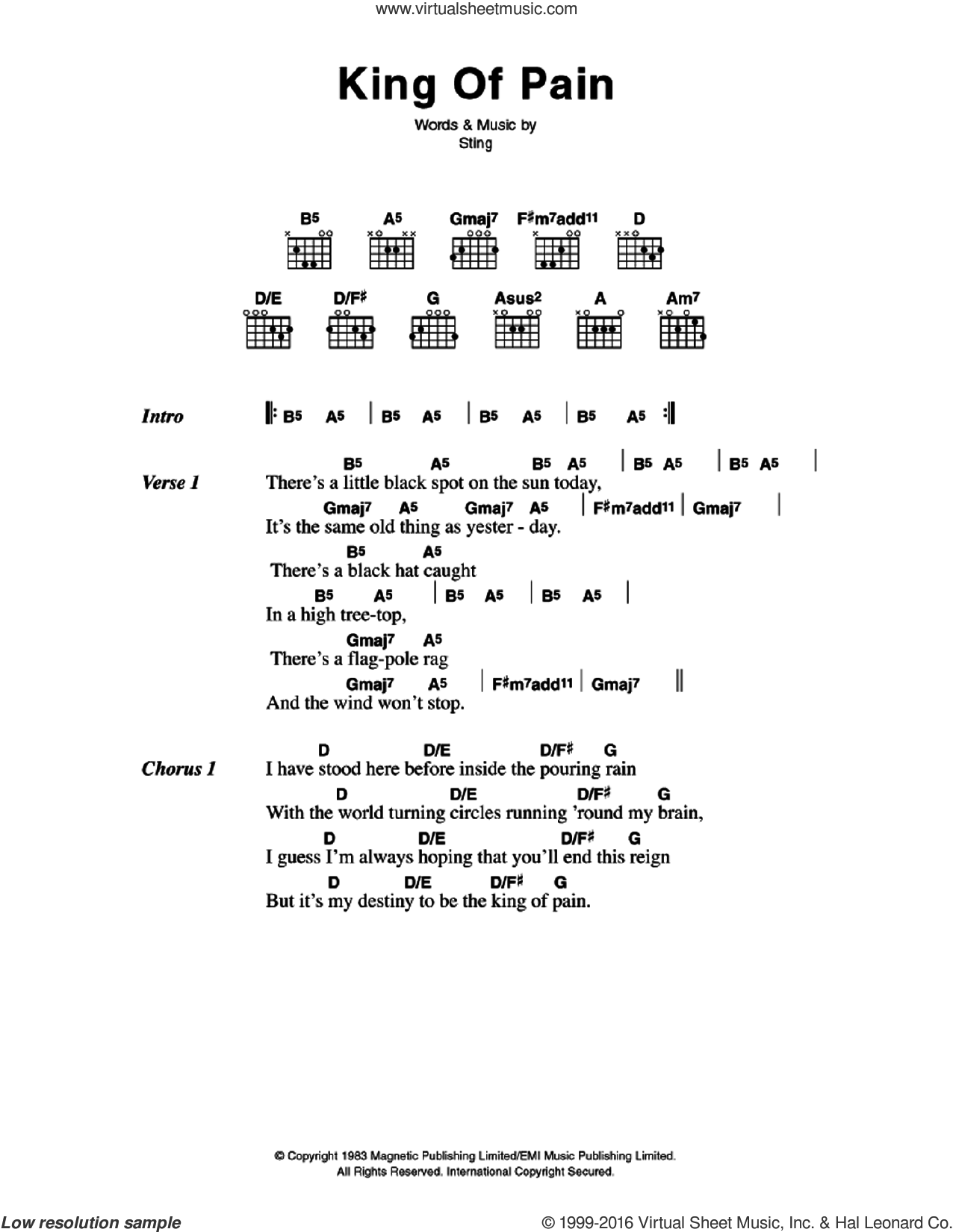 King Of Pain sheet music for guitar (chords) by Sting and The Police. Score Image Preview.