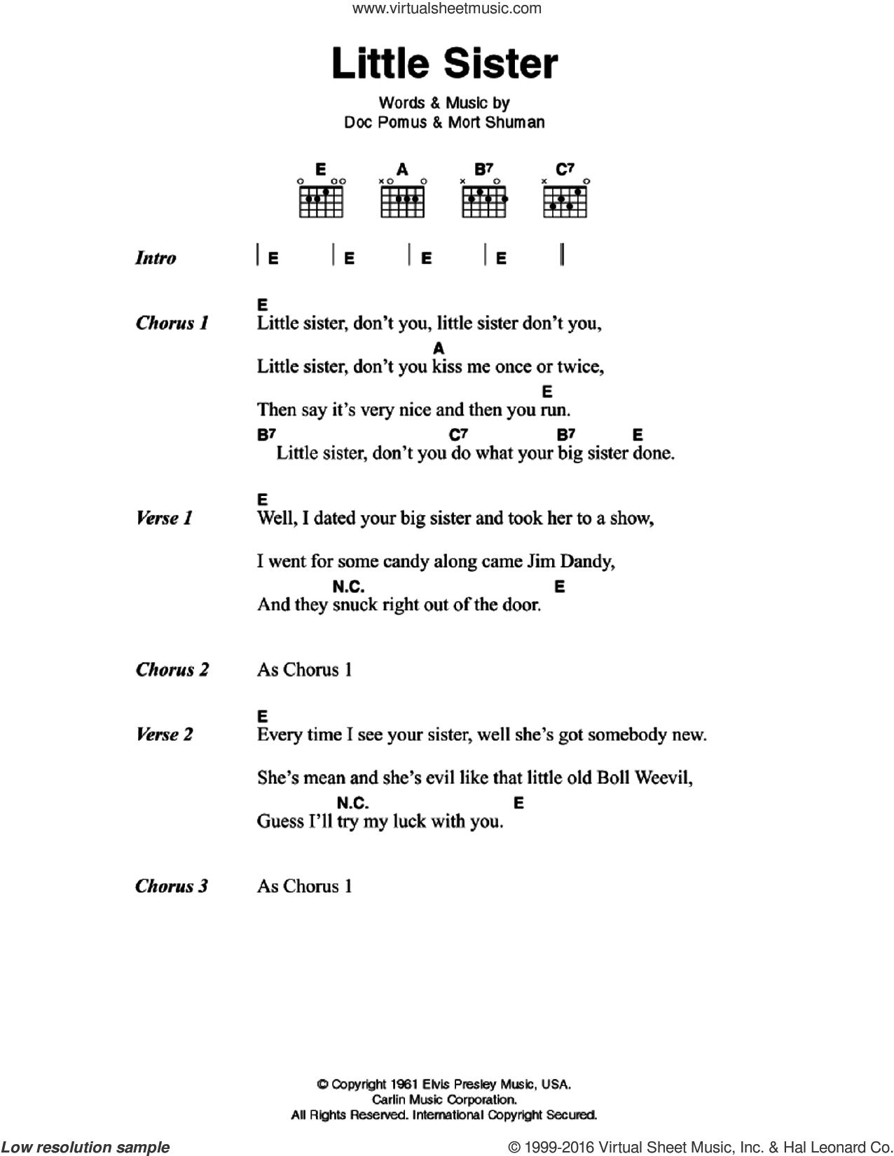 Little Sister sheet music for guitar (chords) by Mort Shuman, Elvis Presley and Doc Pomus. Score Image Preview.