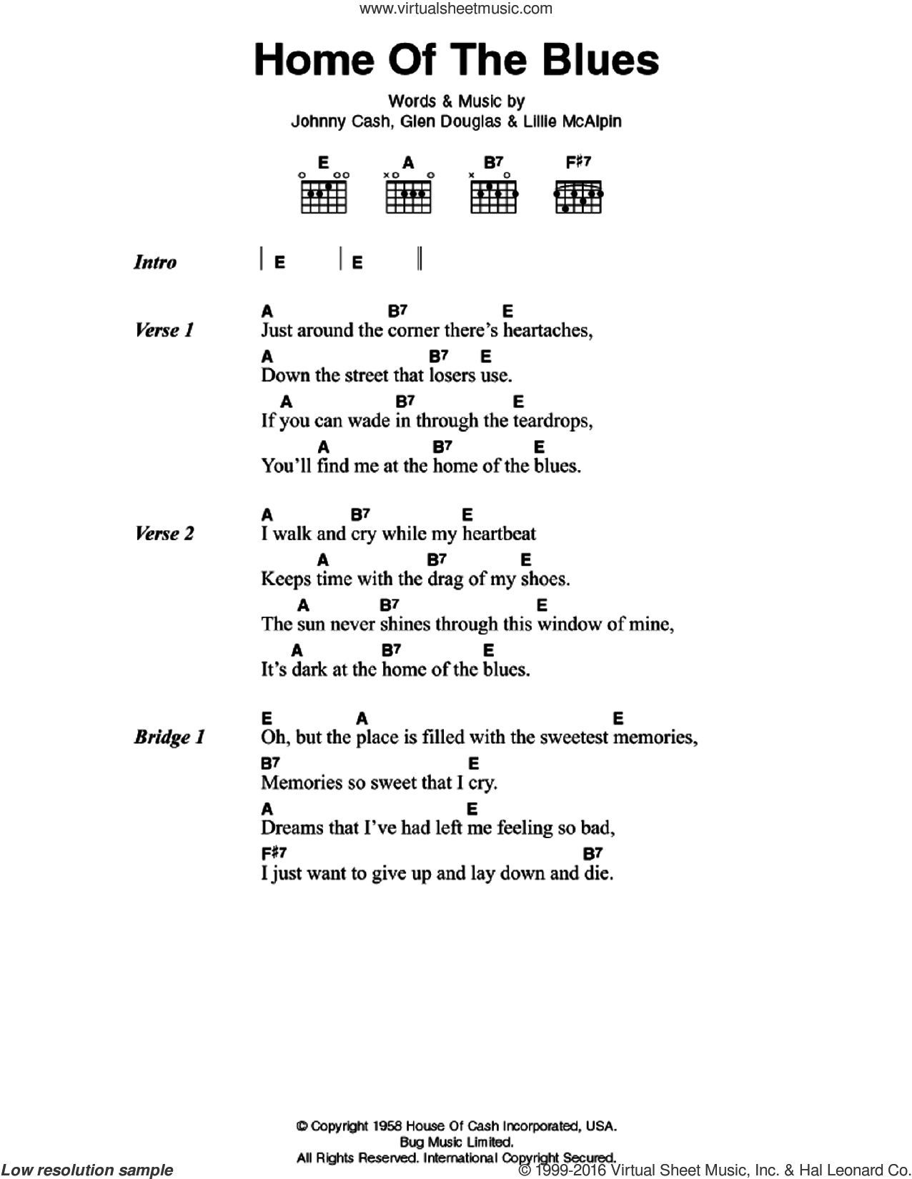 Cash Home Of The Blues Sheet Music For Guitar Chords Pdf