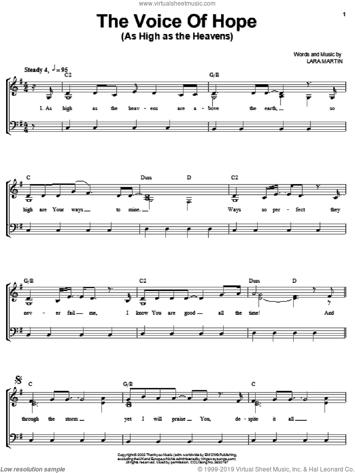As High As The Heavens sheet music for voice, piano or guitar by Lara Martin, intermediate. Score Image Preview.