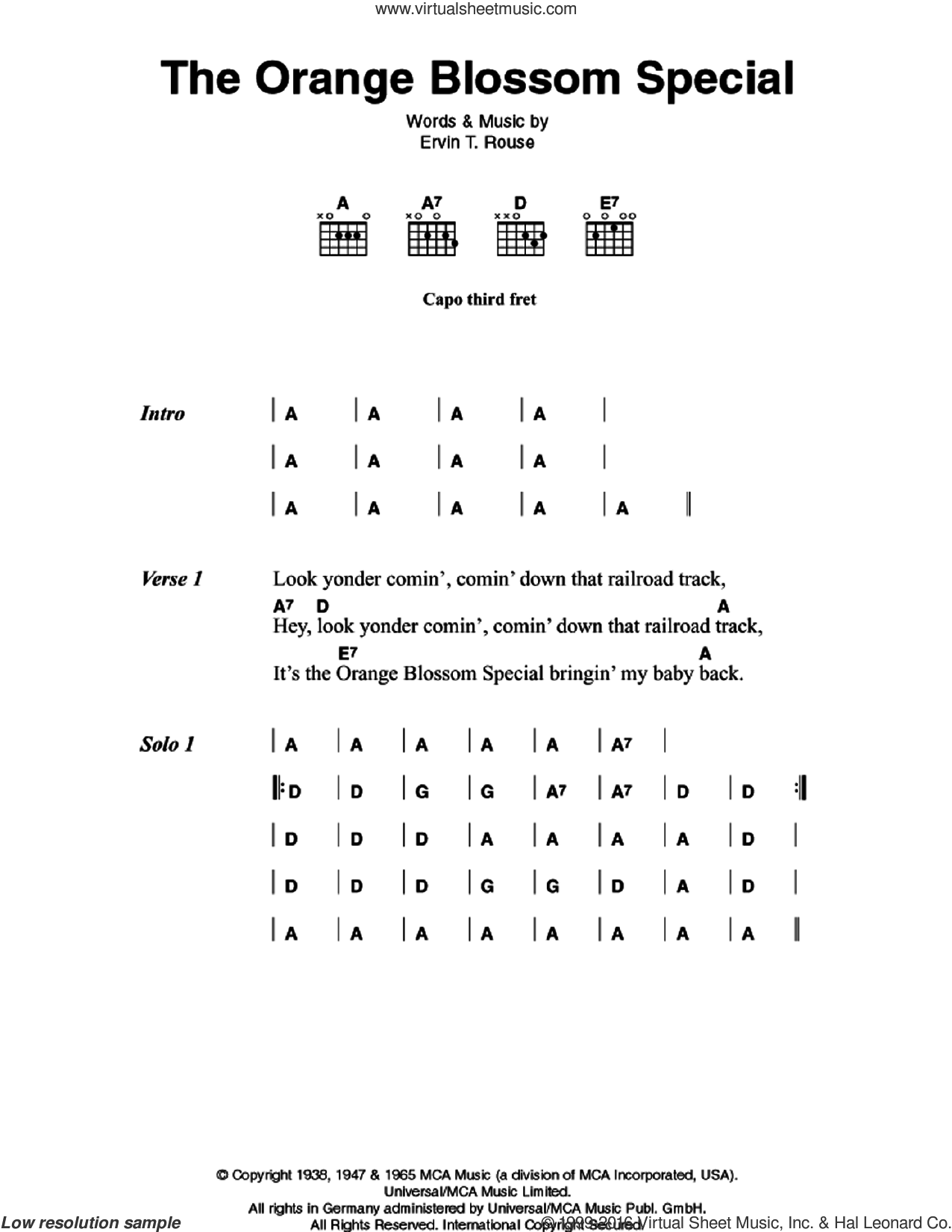 The Orange Blossom Special sheet music for guitar (chords) by Johnny Cash and Ervin T. Rouse, intermediate. Score Image Preview.