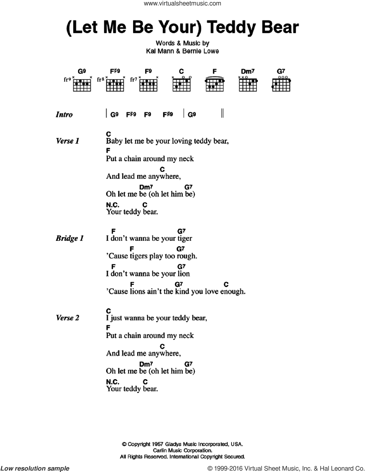 (Let Me Be Your) Teddy Bear sheet music for guitar (chords) by Elvis Presley, Bernie Lowe and Kal Mann, intermediate