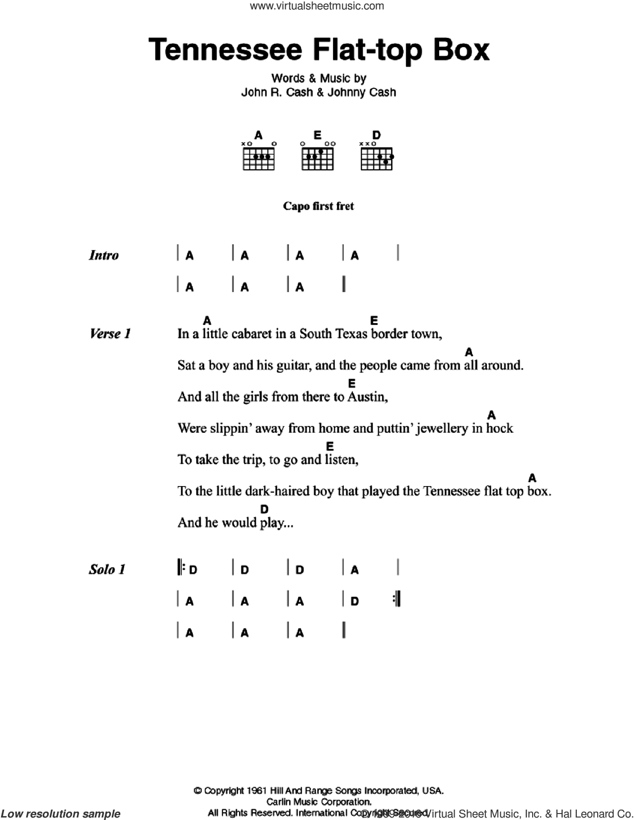 Tennessee Flat-top Box sheet music for guitar (chords) by Johnny Cash
