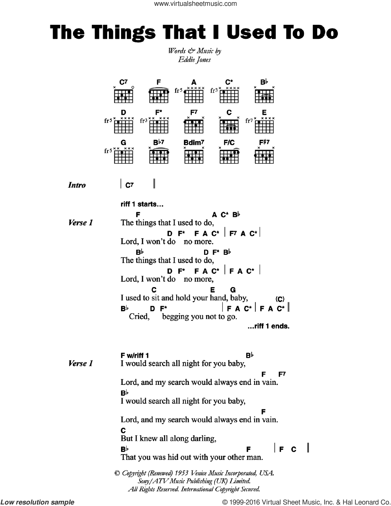 The Things That I Used To Do sheet music for guitar (chords) by Eddie