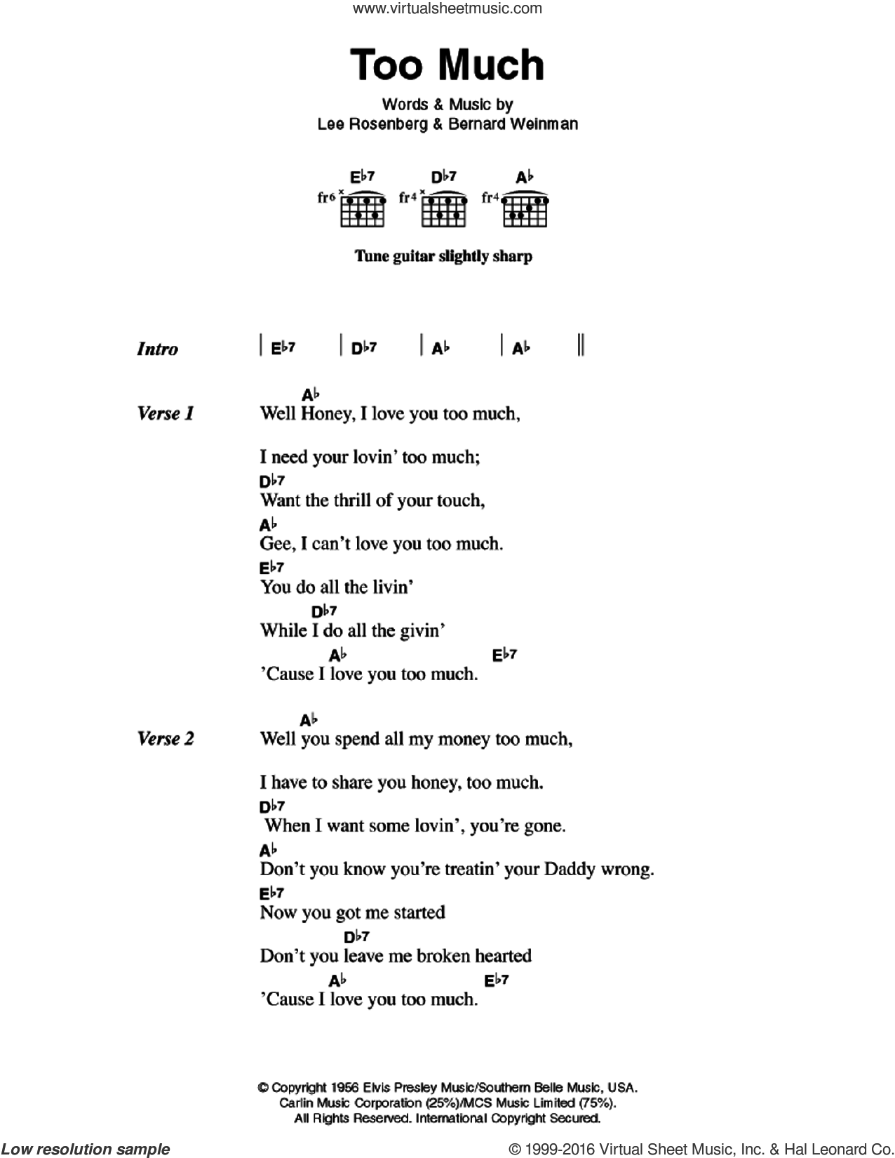 Too Much sheet music for guitar (chords) by Elvis Presley, Bernard Weinman and Lee Rosenberg, intermediate skill level