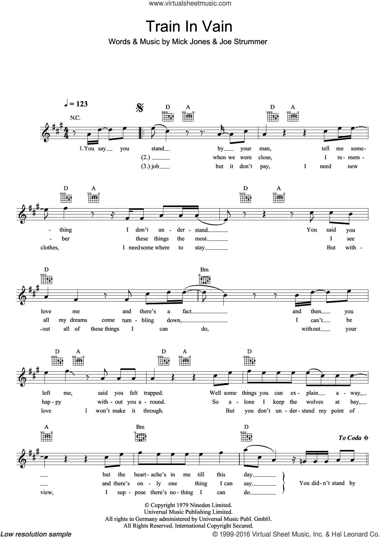 Train In Vain sheet music for voice and other instruments (fake book) by The Clash, Joe Strummer and Mick Jones, intermediate skill level