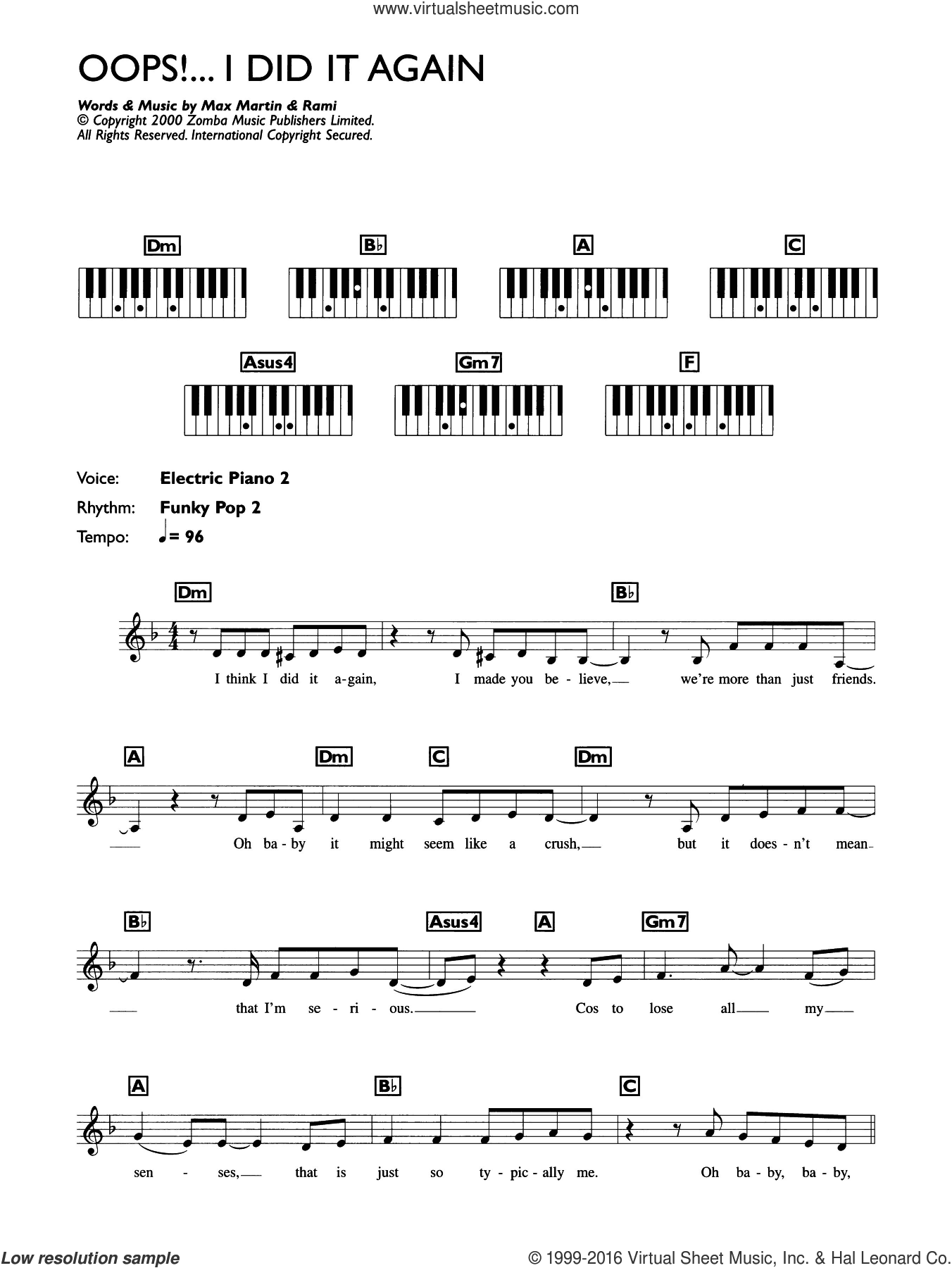 Oops! I Did It Again sheet music for piano solo (chords, lyrics, melody) by Britney Spears, Max Martin and Rami, intermediate piano (chords, lyrics, melody)