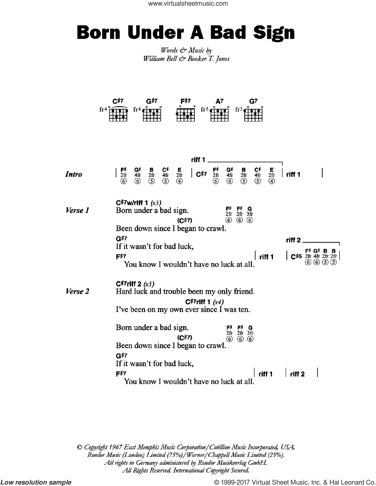 Born Under A Bad Sign sheet music for guitar (chords) by Albert King, Booker T. Jones and William Bell, intermediate skill level