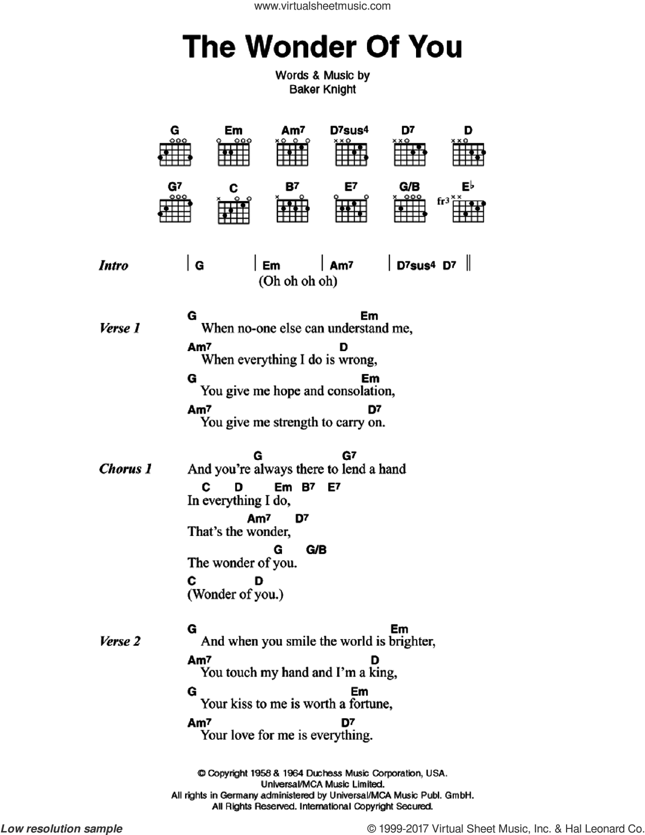 The Wonder Of You sheet music for guitar (chords) by Elvis Presley and Baker Knight, intermediate skill level