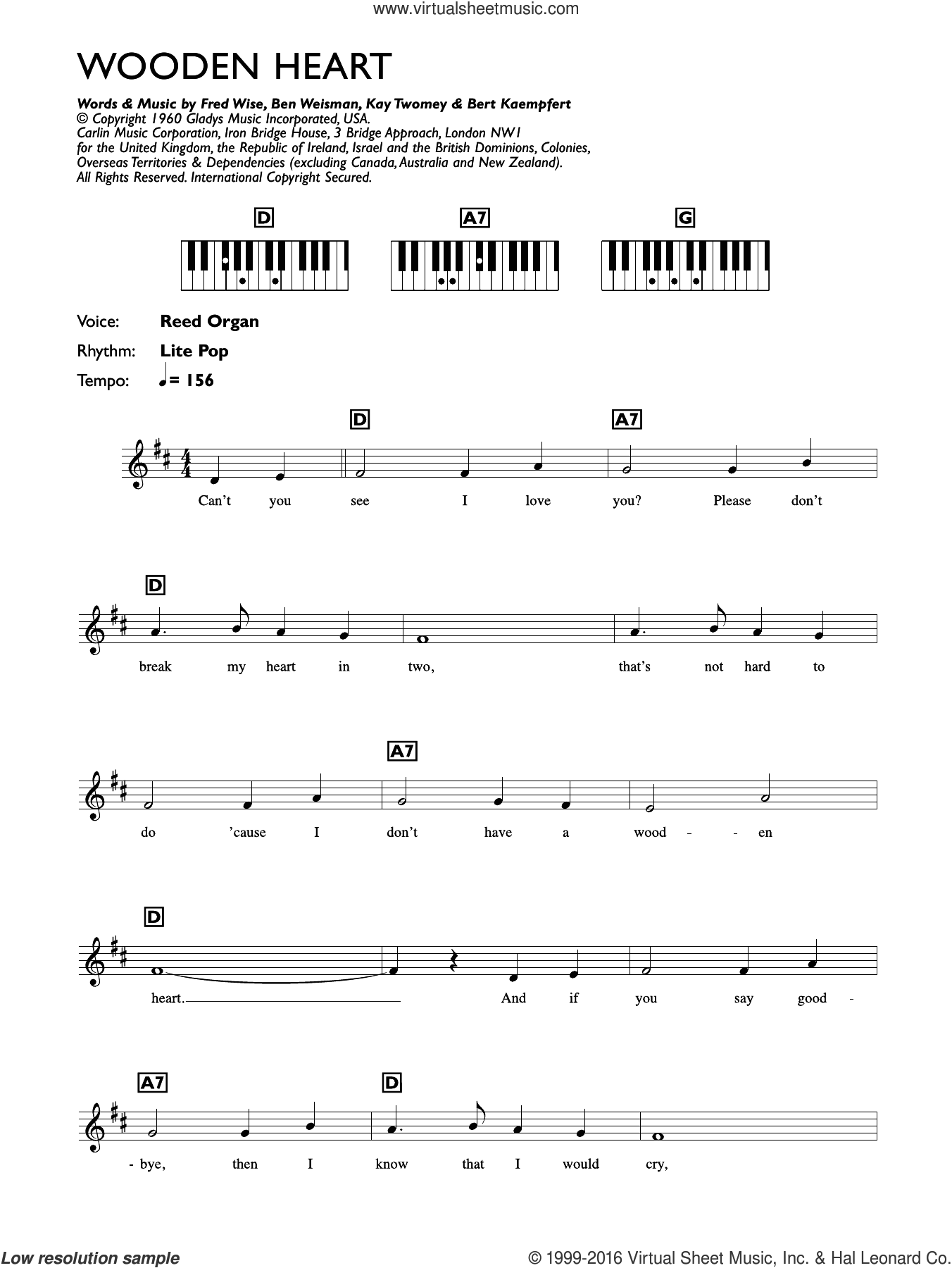 Wooden Heart sheet music for piano solo (chords, lyrics, melody) by Kay Twomey, Elvis Presley, Ben Weisman, Bert Kaempfert and Fred Wise. Score Image Preview.