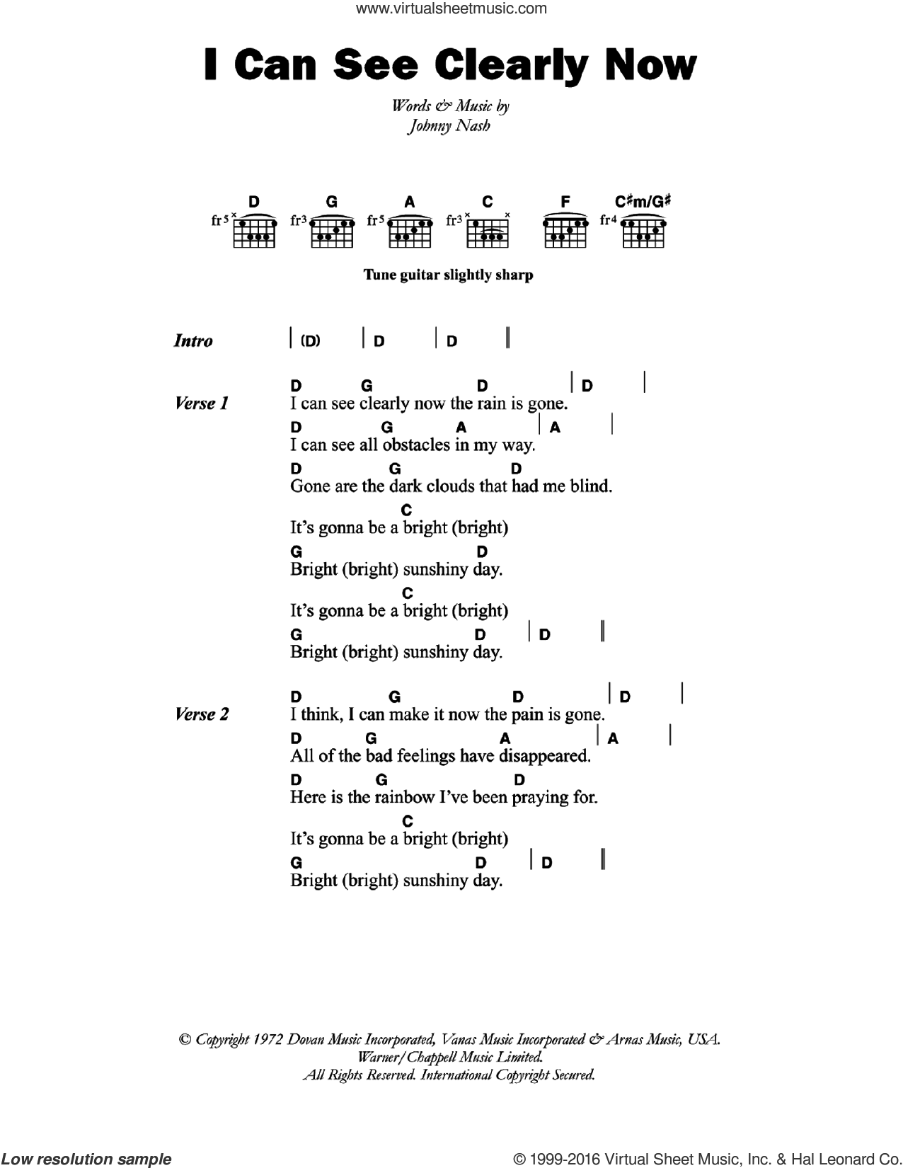 I Can See Clearly Now sheet music for guitar (chords) by Johnny Nash, intermediate skill level