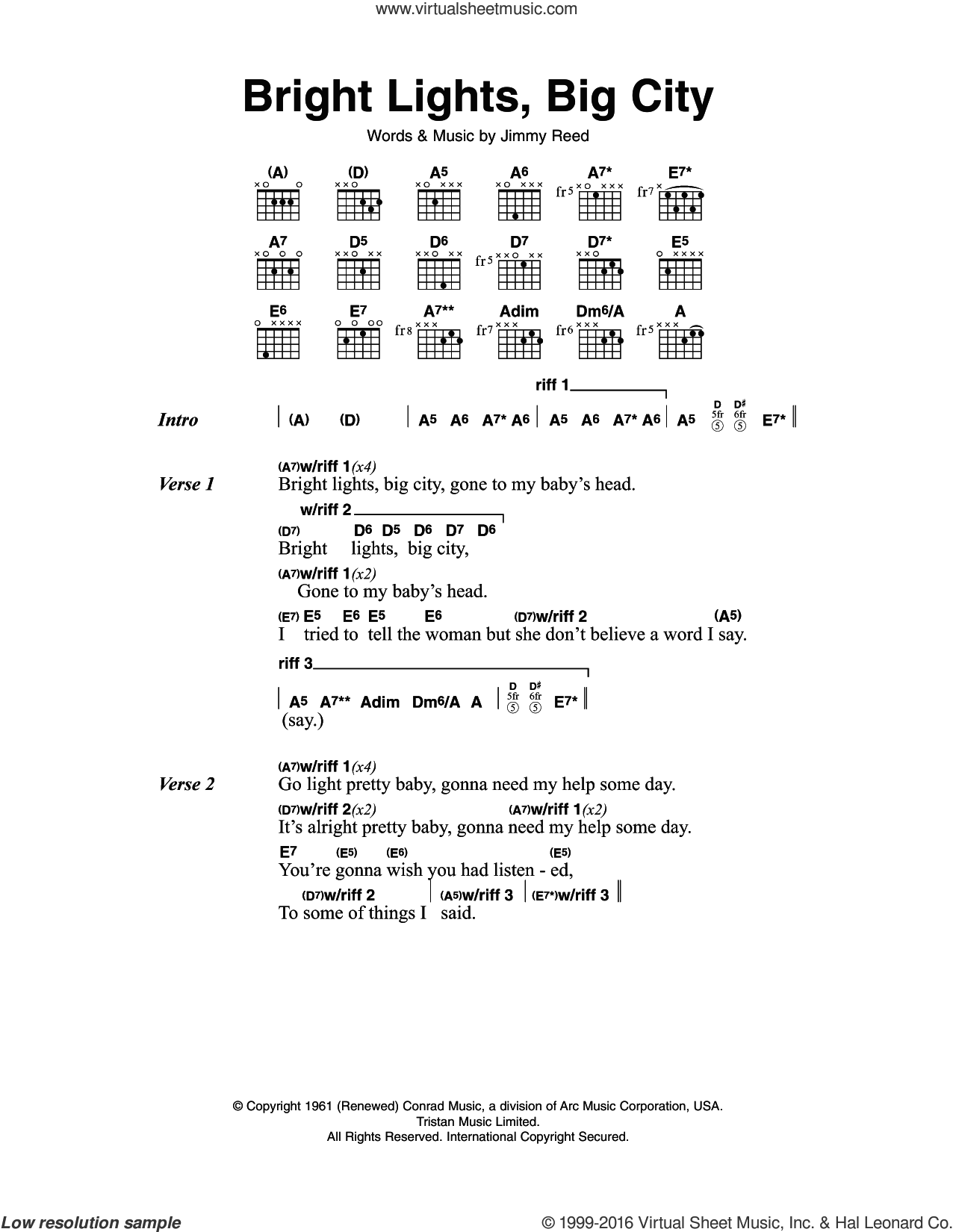 Bright Lights, Big City sheet music for guitar (chords) by Jimmy Reed. Score Image Preview.