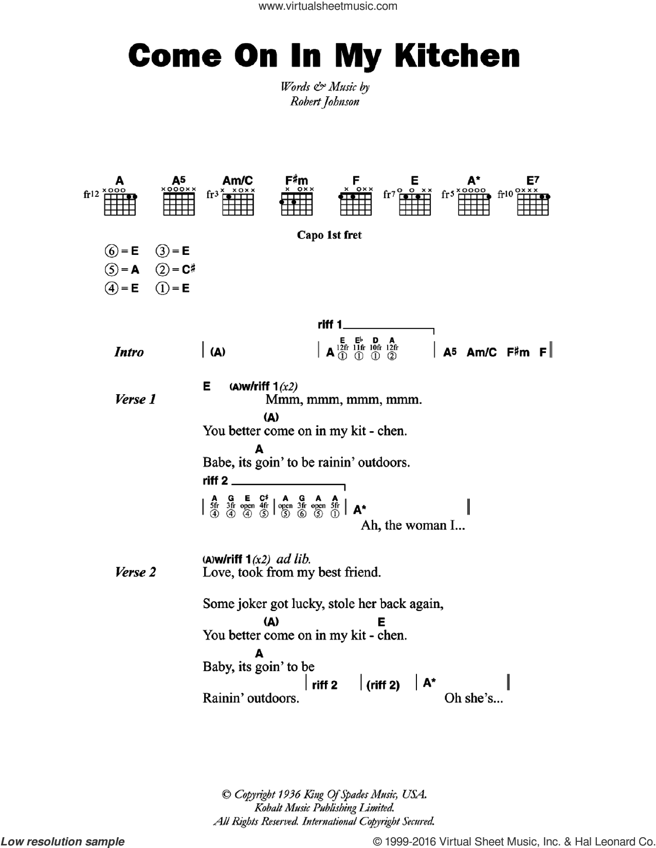 Come On In My Kitchen sheet music for guitar (chords) by Robert Johnson, intermediate skill level