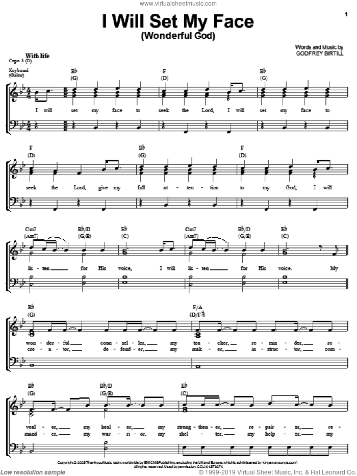 Wonderful God I Will Set My Face sheet music for voice, piano or guitar by Godfrey Birtill, intermediate skill level