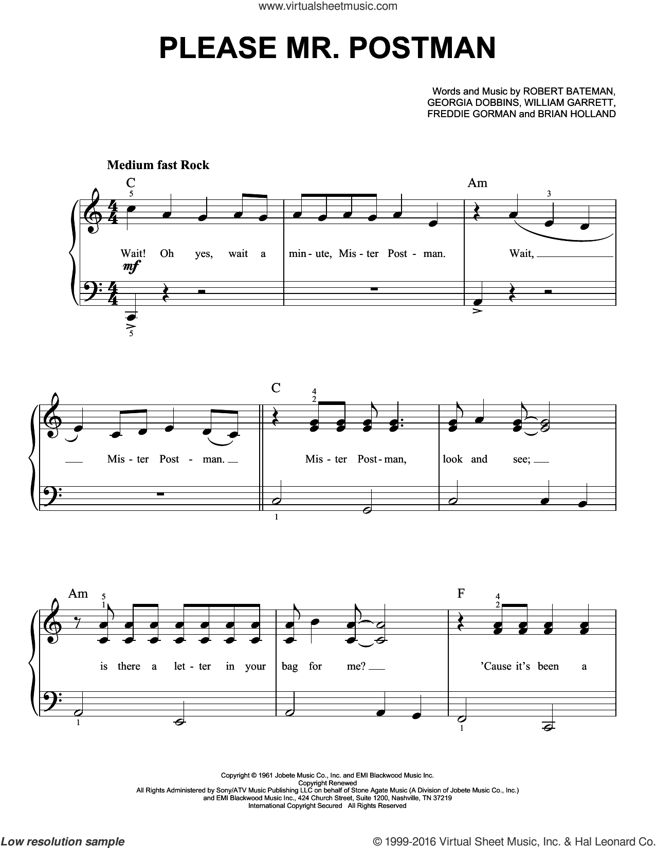Please Mr. Postman sheet music for piano solo by The Marvelettes, Carpenters, The Beatles, Brian Holland, Freddie Gorman, Georgia Dobbins, Robert Bateman and William Garrett, easy skill level