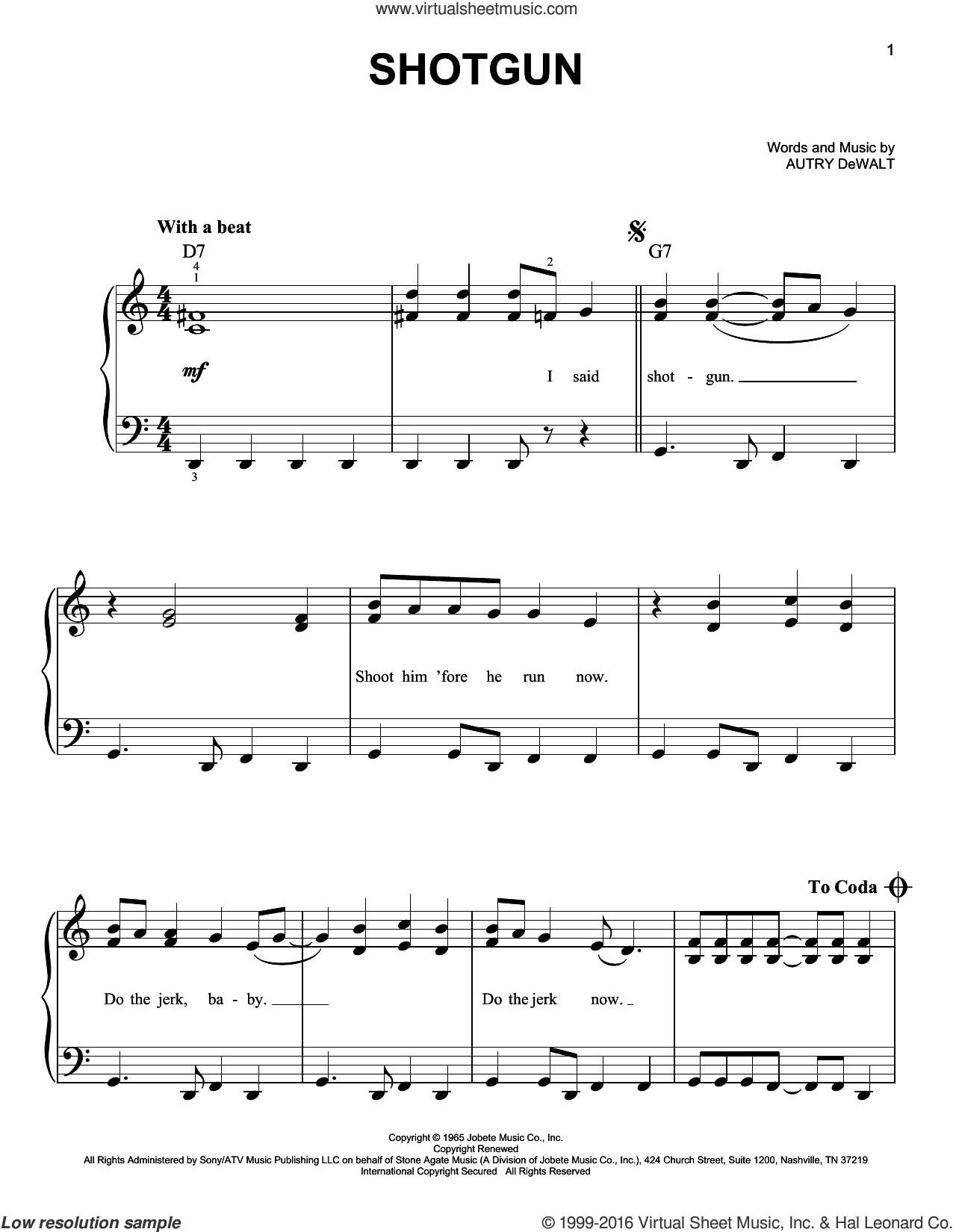 Shotgun sheet music for piano solo by Junior Walker & the All-Stars and Vanilla Fudge, easy piano. Score Image Preview.
