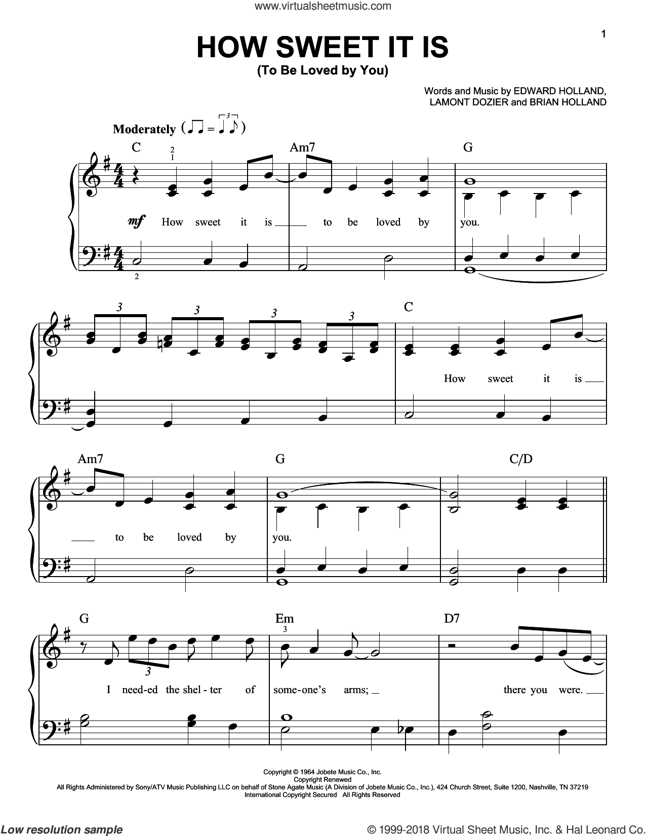 How Sweet It Is (To Be Loved By You) sheet music for piano solo by Marvin Gaye, James Taylor, Brian Holland, Eddie Holland and Lamont Dozier, beginner skill level