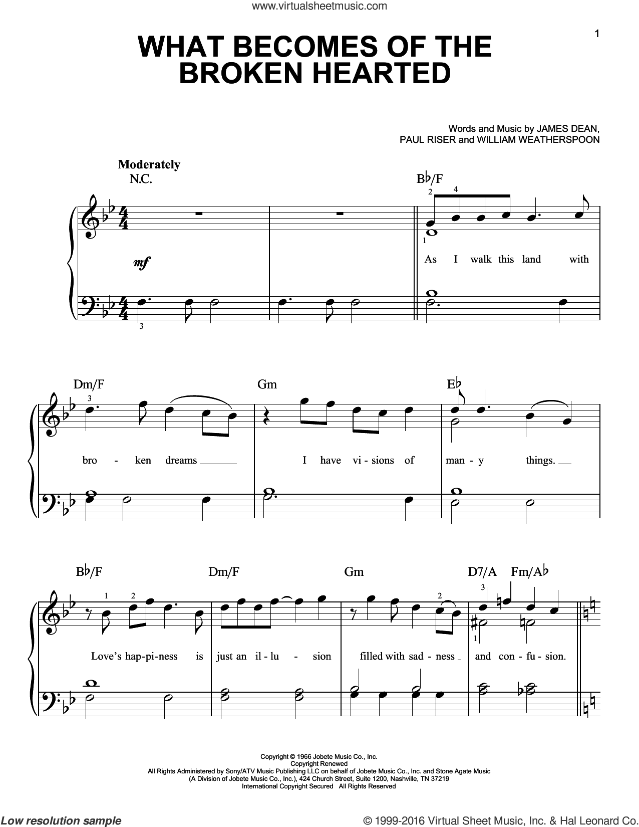 What Becomes Of The Broken Hearted sheet music for piano solo by Jimmy Ruffin, Paul Young, James Dean, Paul Riser and William Weatherspoon, easy skill level