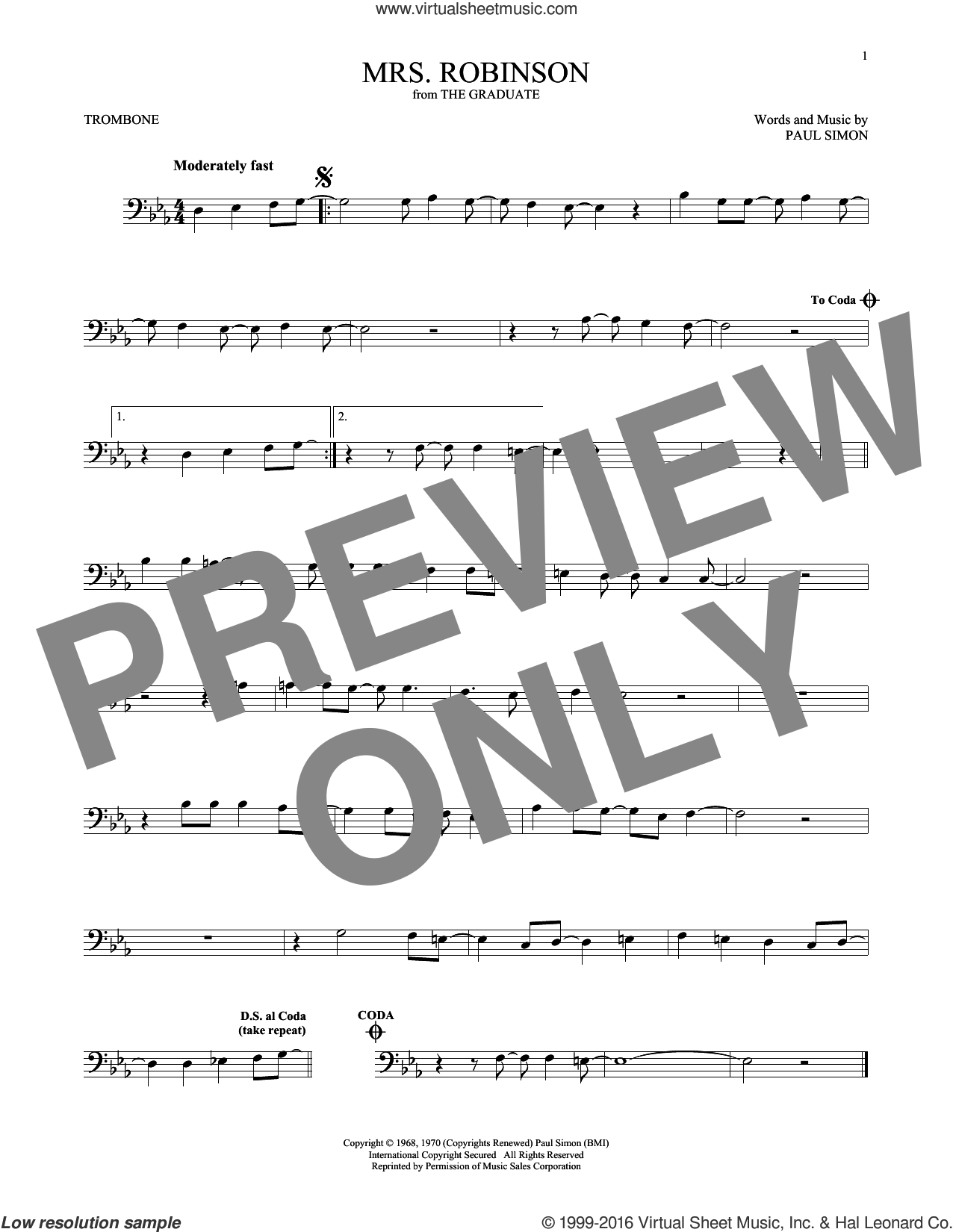 Mrs. Robinson sheet music for trombone solo by Simon & Garfunkel and Paul Simon, intermediate. Score Image Preview.