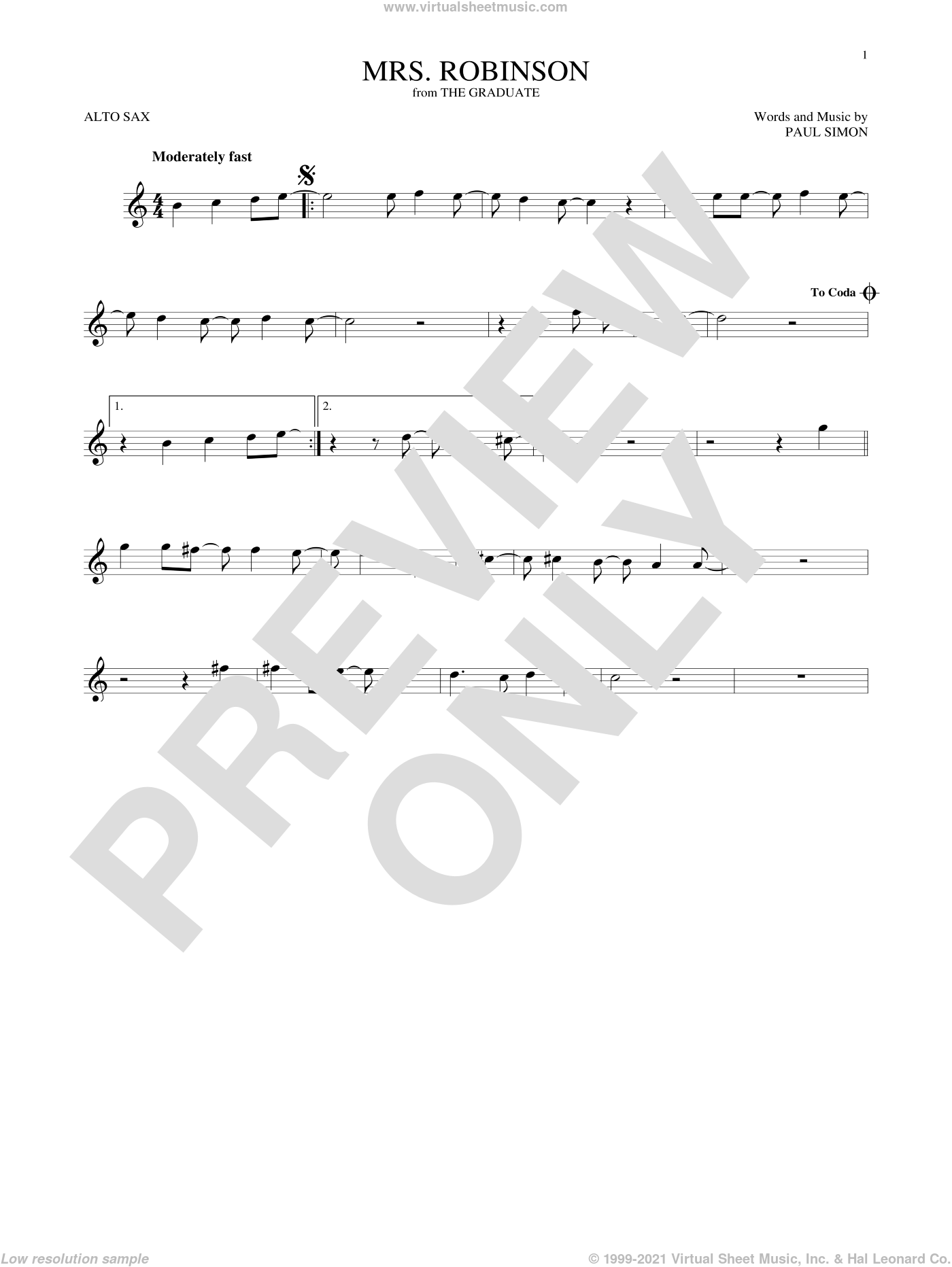 Mrs. Robinson sheet music for alto saxophone solo ( Sax) by Simon & Garfunkel and Paul Simon, intermediate alto saxophone ( Sax). Score Image Preview.