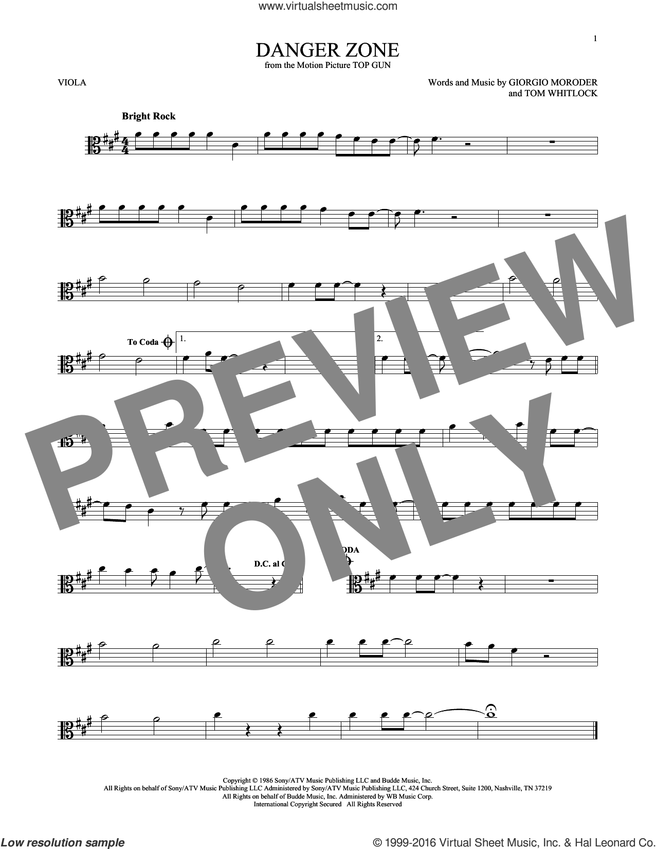 Danger Zone sheet music for viola solo by Kenny Loggins, Giorgio Moroder and Tom Whitlock, intermediate skill level