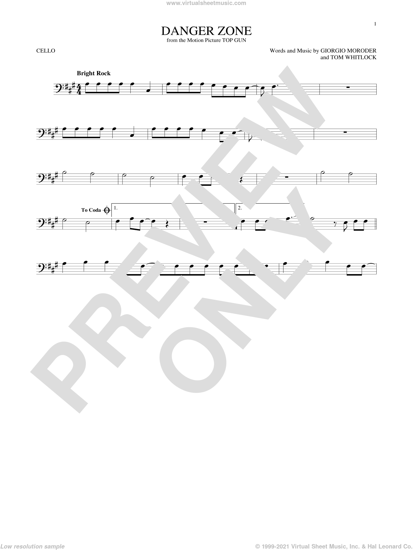 Danger Zone sheet music for cello solo by Kenny Loggins, Giorgio Moroder and Tom Whitlock, intermediate skill level