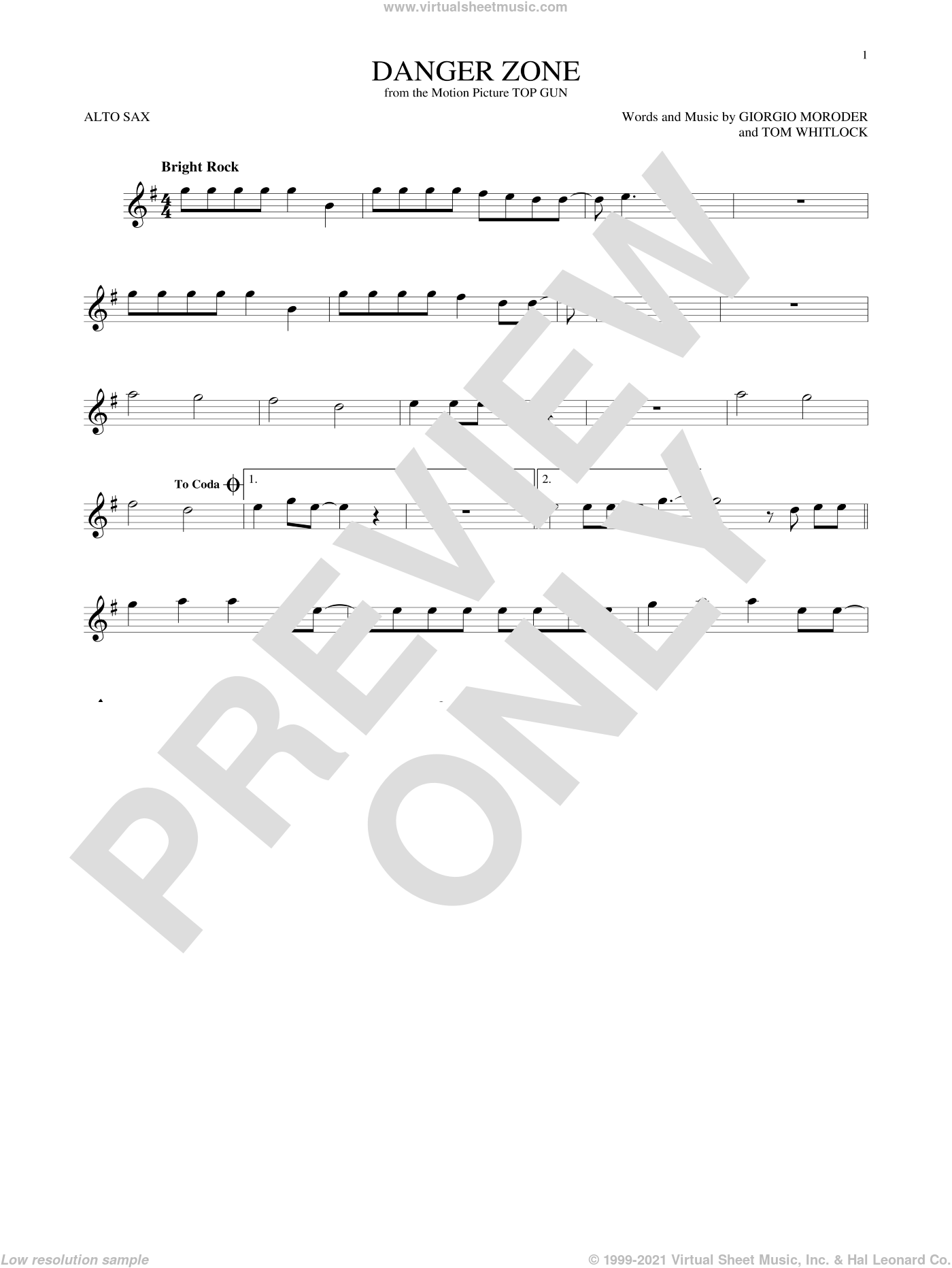 Danger Zone sheet music for alto saxophone solo by Kenny Loggins, Giorgio Moroder and Tom Whitlock, intermediate skill level