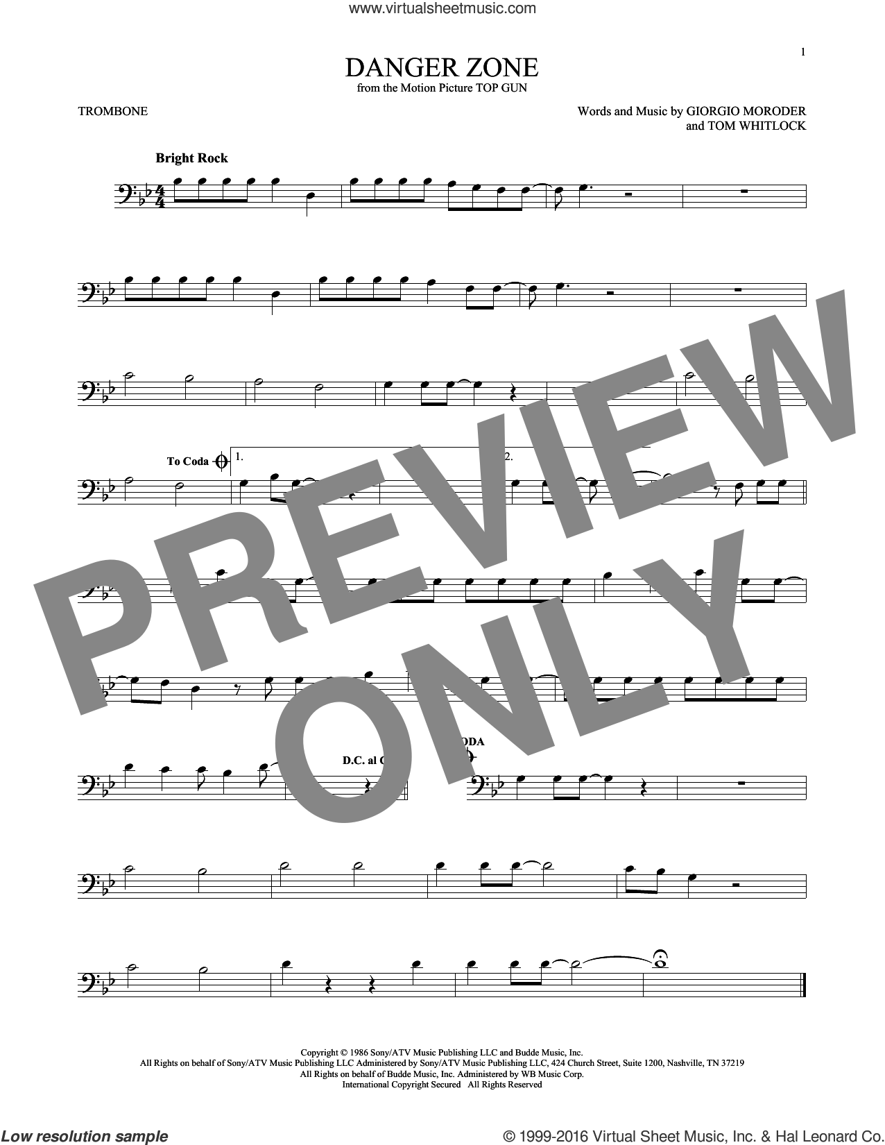 Danger Zone sheet music for trombone solo by Tom Whitlock, Kenny Loggins and Giorgio Moroder. Score Image Preview.