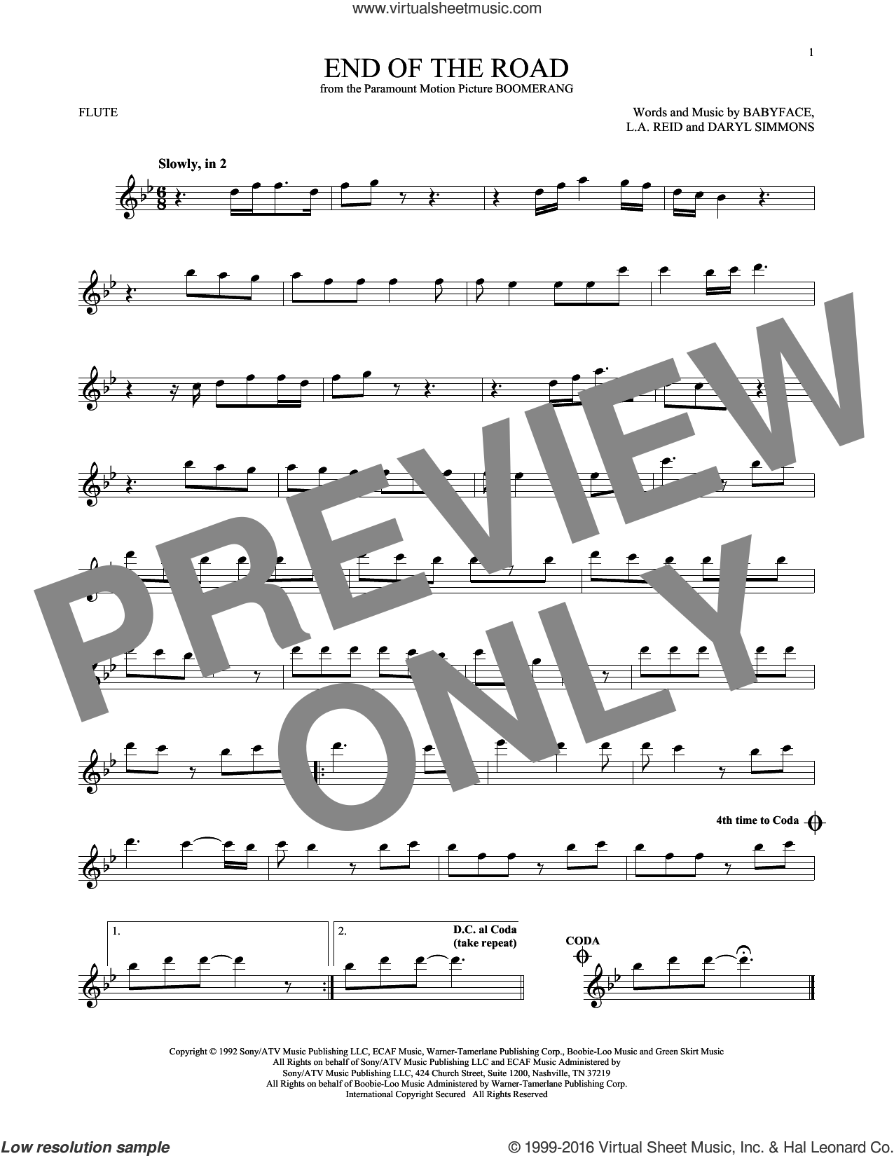 End Of The Road sheet music for flute solo by Boyz II Men, Babyface, DARYL SIMMONS and L.A. Reid, intermediate skill level