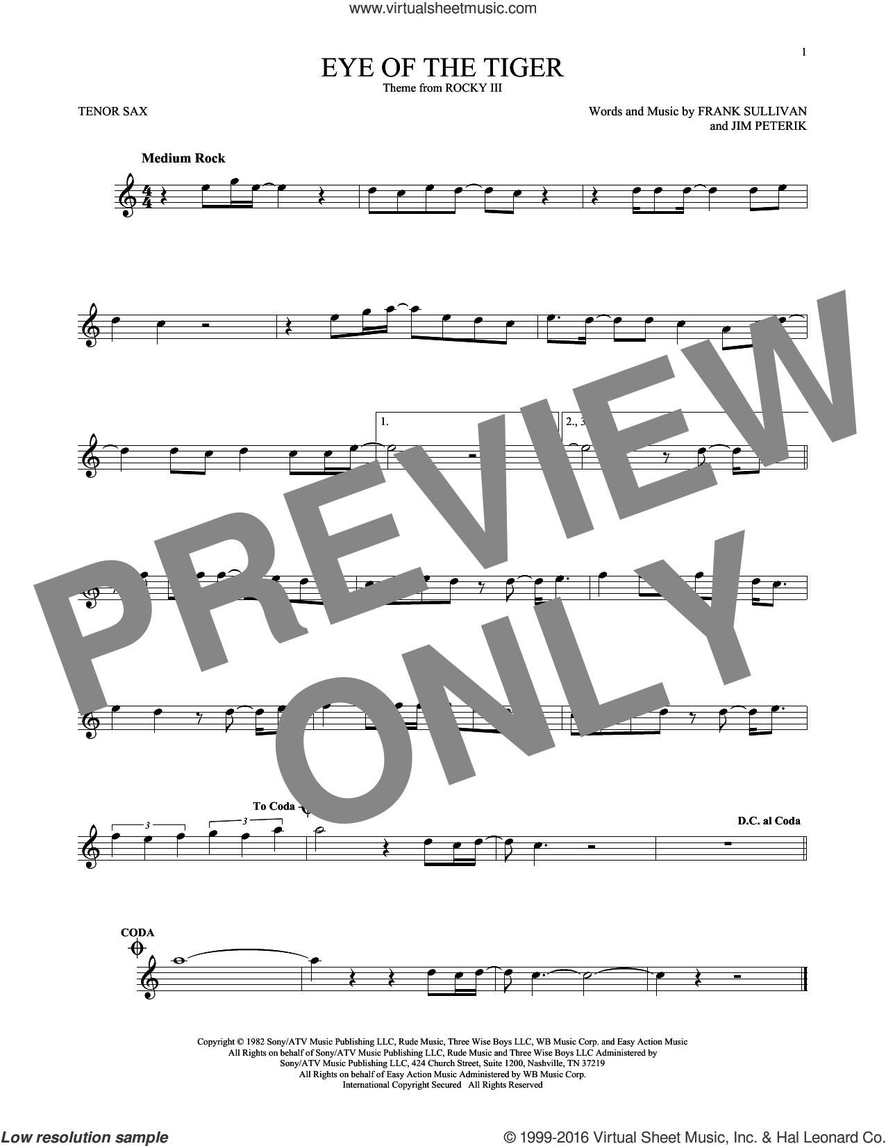 Eye Of The Tiger sheet music for tenor saxophone solo by Survivor, Frank Sullivan and Jim Peterik, intermediate skill level