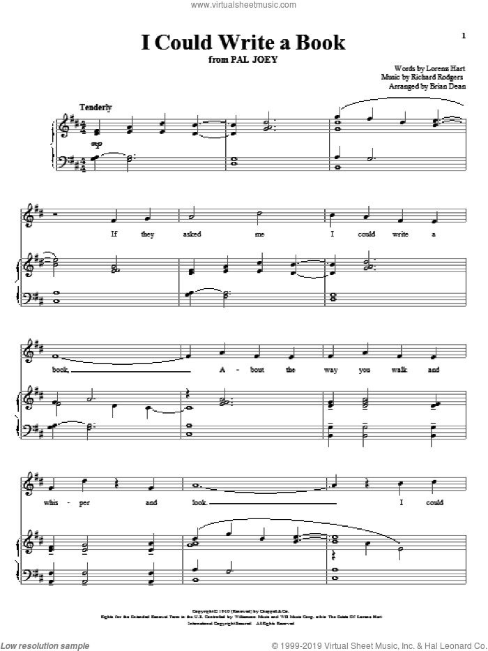 I Could Write A Book sheet music for voice and piano by Rodgers & Hart, Richard Walters, Pal Joey (Musical), Lorenz Hart and Richard Rodgers, intermediate skill level