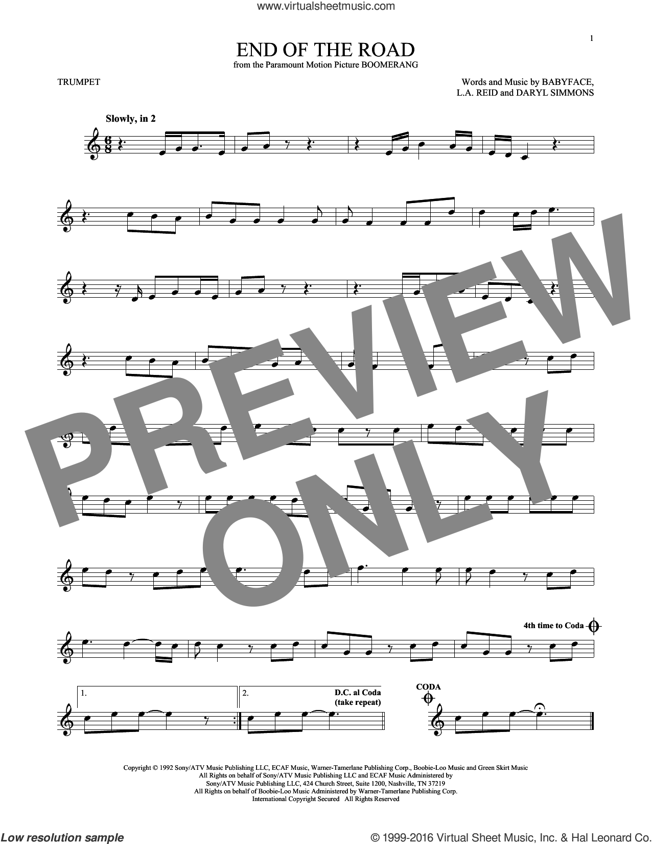 End Of The Road sheet music for trumpet solo by Boyz II Men, Babyface, DARYL SIMMONS and L.A. Reid, intermediate skill level