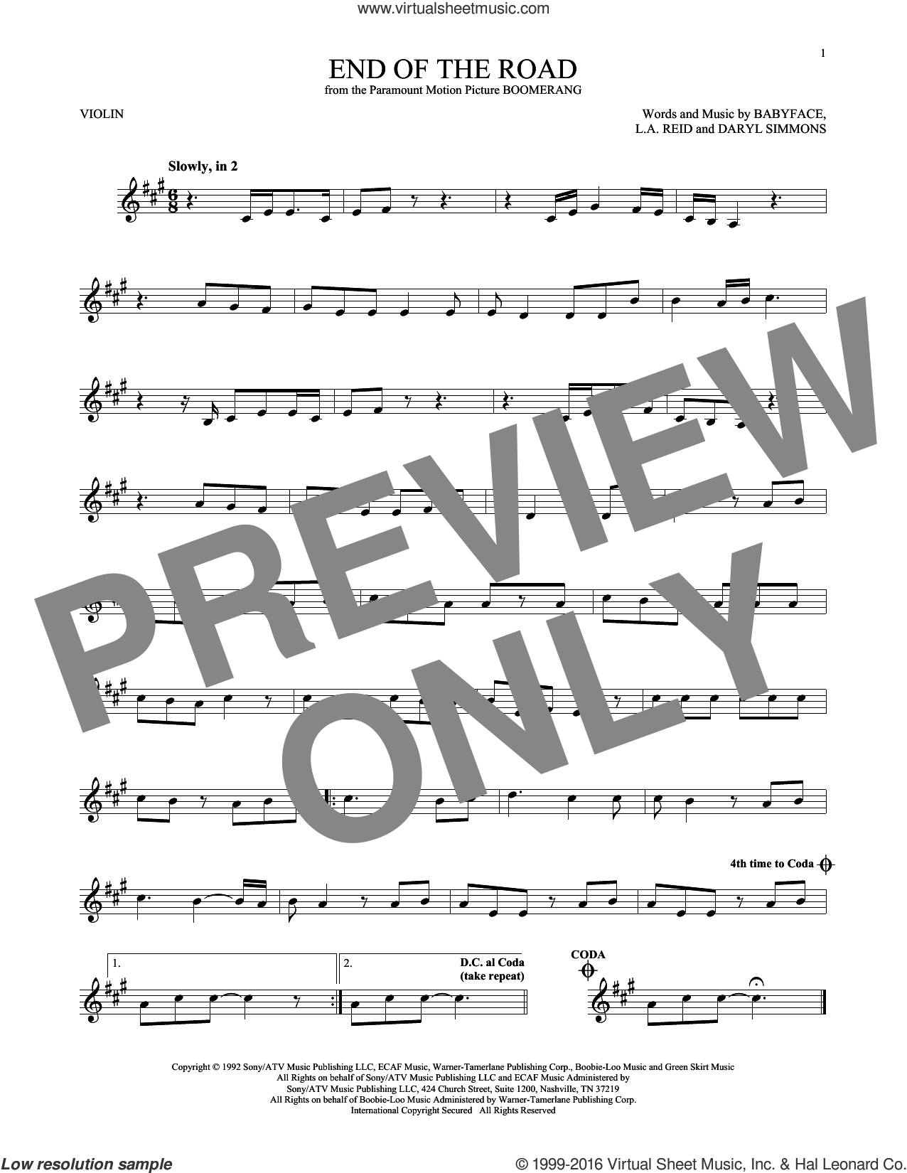 End Of The Road sheet music for violin solo by Boyz II Men, Babyface, DARYL SIMMONS and L.A. Reid, intermediate skill level